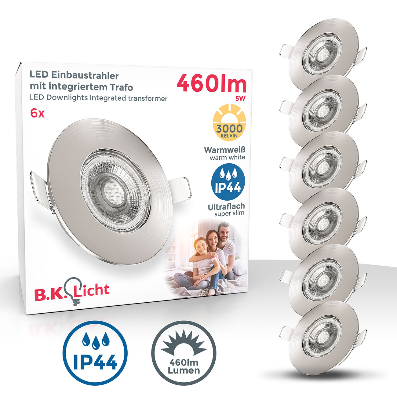 LED Einbaustrahler | Bad Einbauleuchte 6er SET | ultra flach 5W IP44
