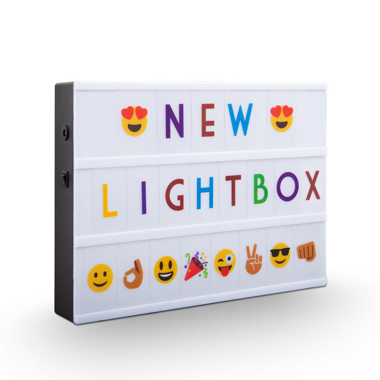 LED Lichtbox Lightbox mit 220 Buchstaben A4 bunt