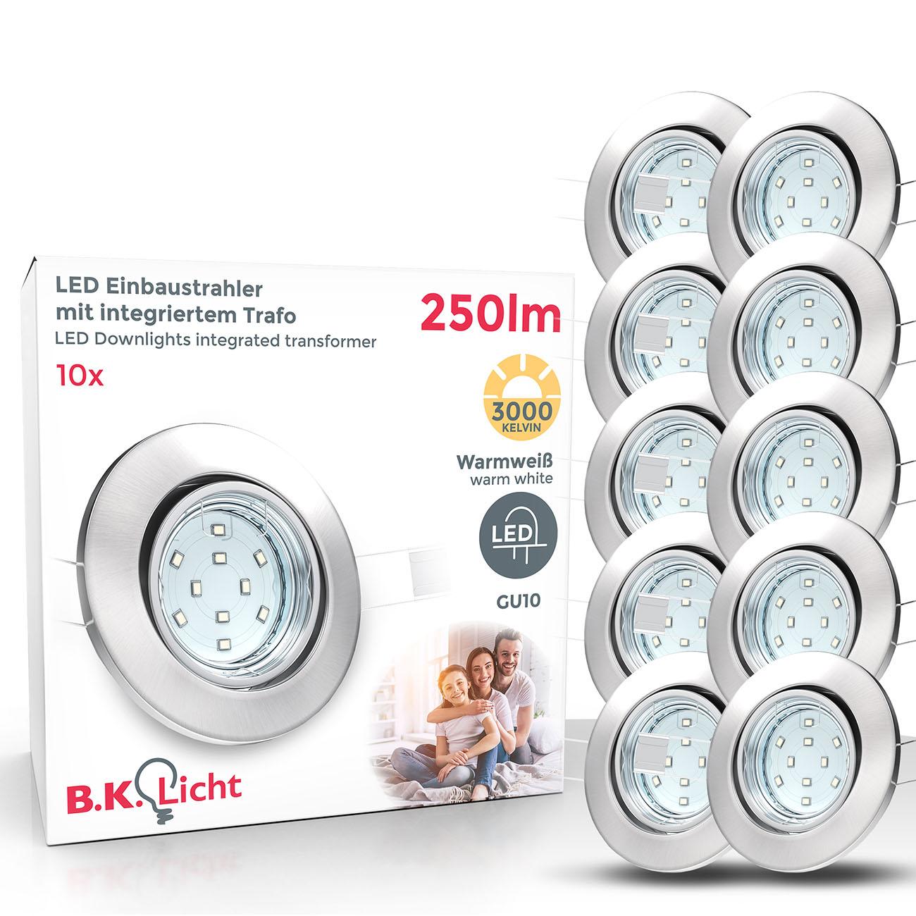 LED Einbaustrahler | Einbauleuchte 10er SET | 3W inkl. GU10 schwenkbar