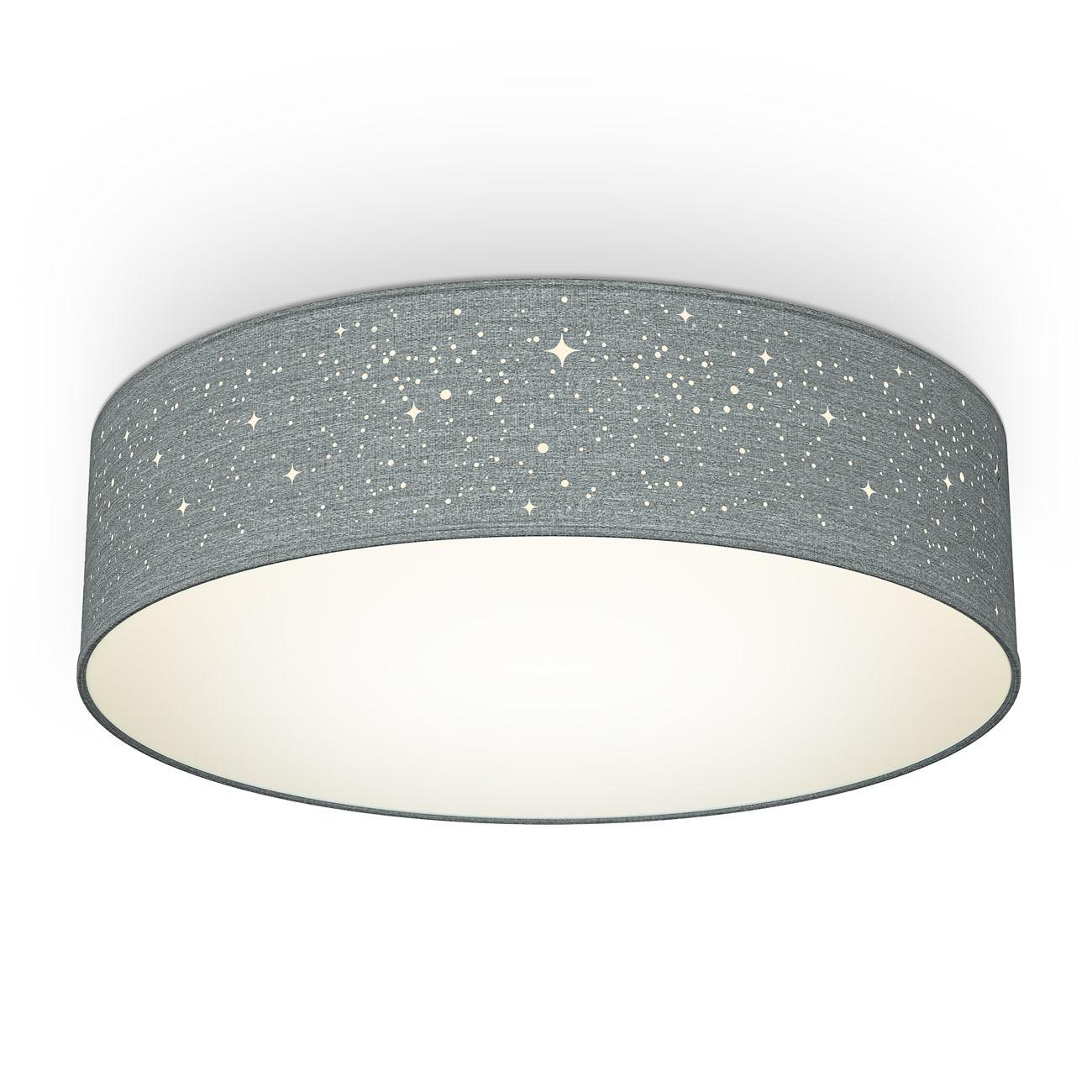 Deckenleuchte Stoff mit Sternenoptik grau 2xE27 - 1