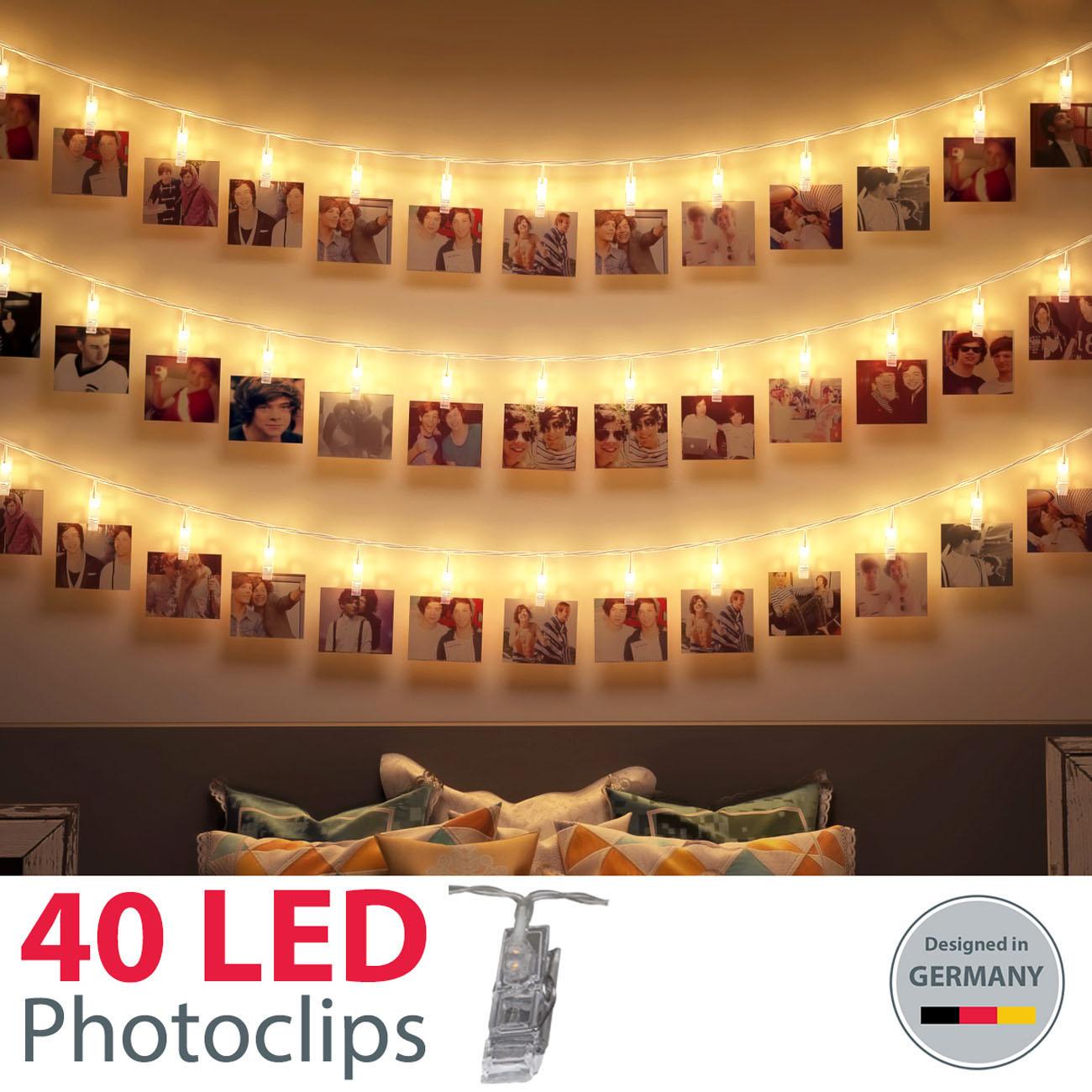 LED Fotolichterkette mit 40 Foto Clips 5m - 3