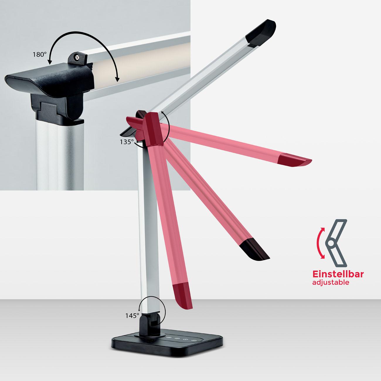 LED Schreibtischleuchte schwenkbar dimmbar schwarz - 7