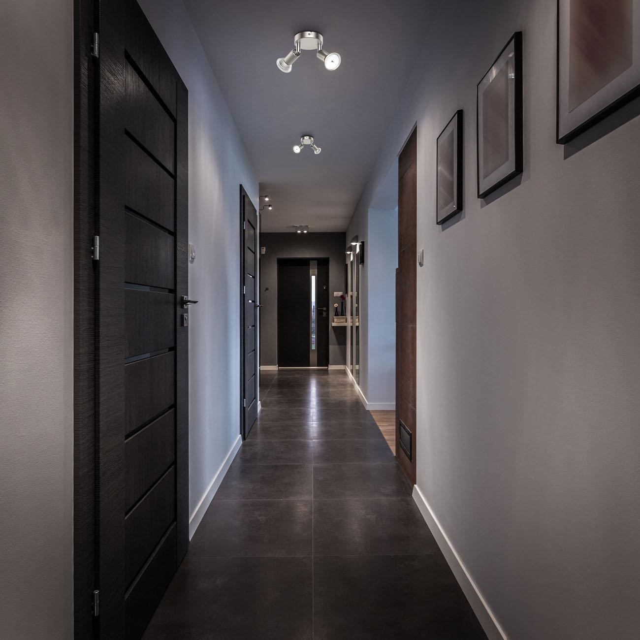 LED Deckenstrahler Spotleuchte 2-flammig matt-nickel