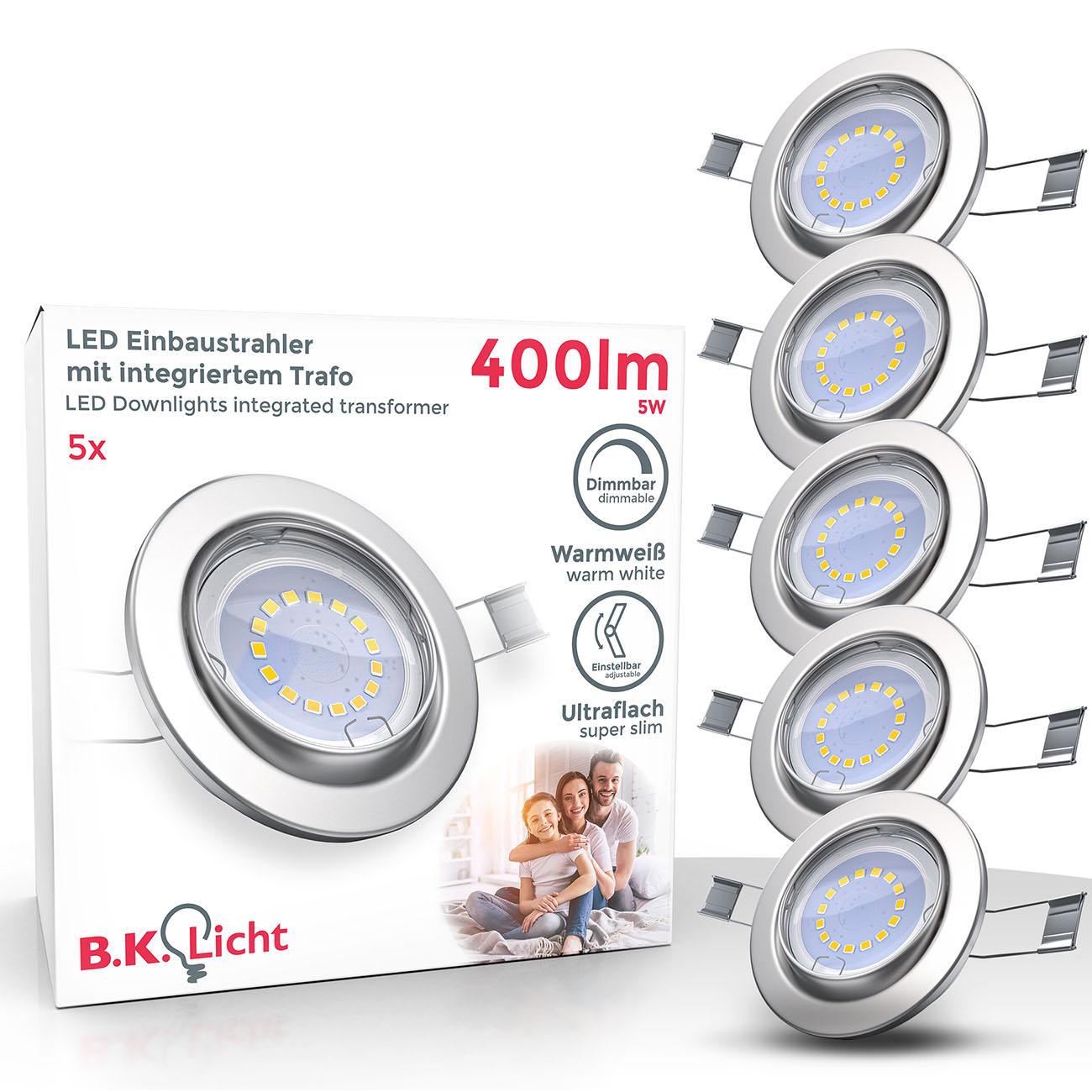 LED Einbaustrahler | Einbauleuchte 5er SET | 5W inkl.GU10 Stufendimmer Schwenkbar - 1