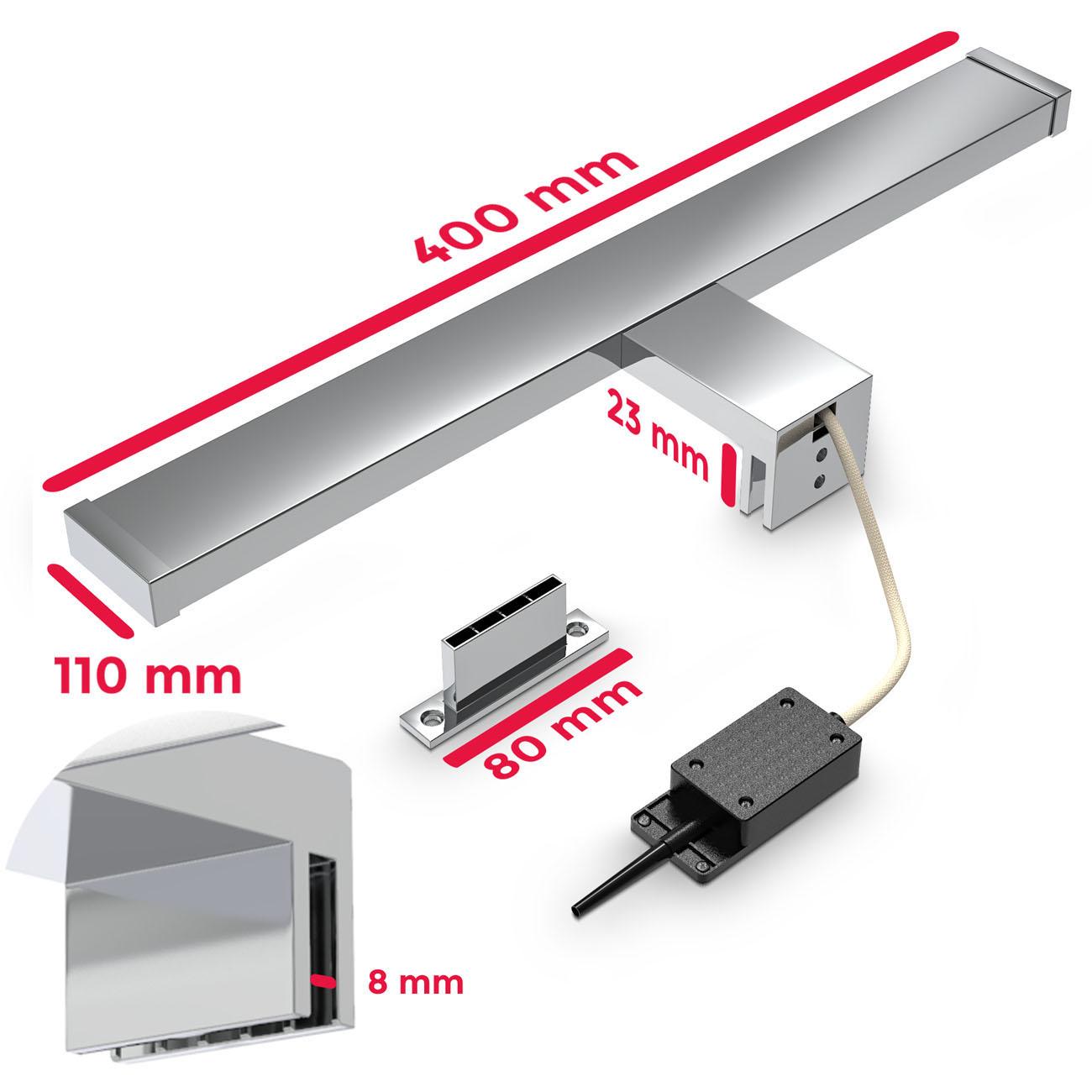 LED Spiegelleuchte Badlampe IP44 chrom - 7