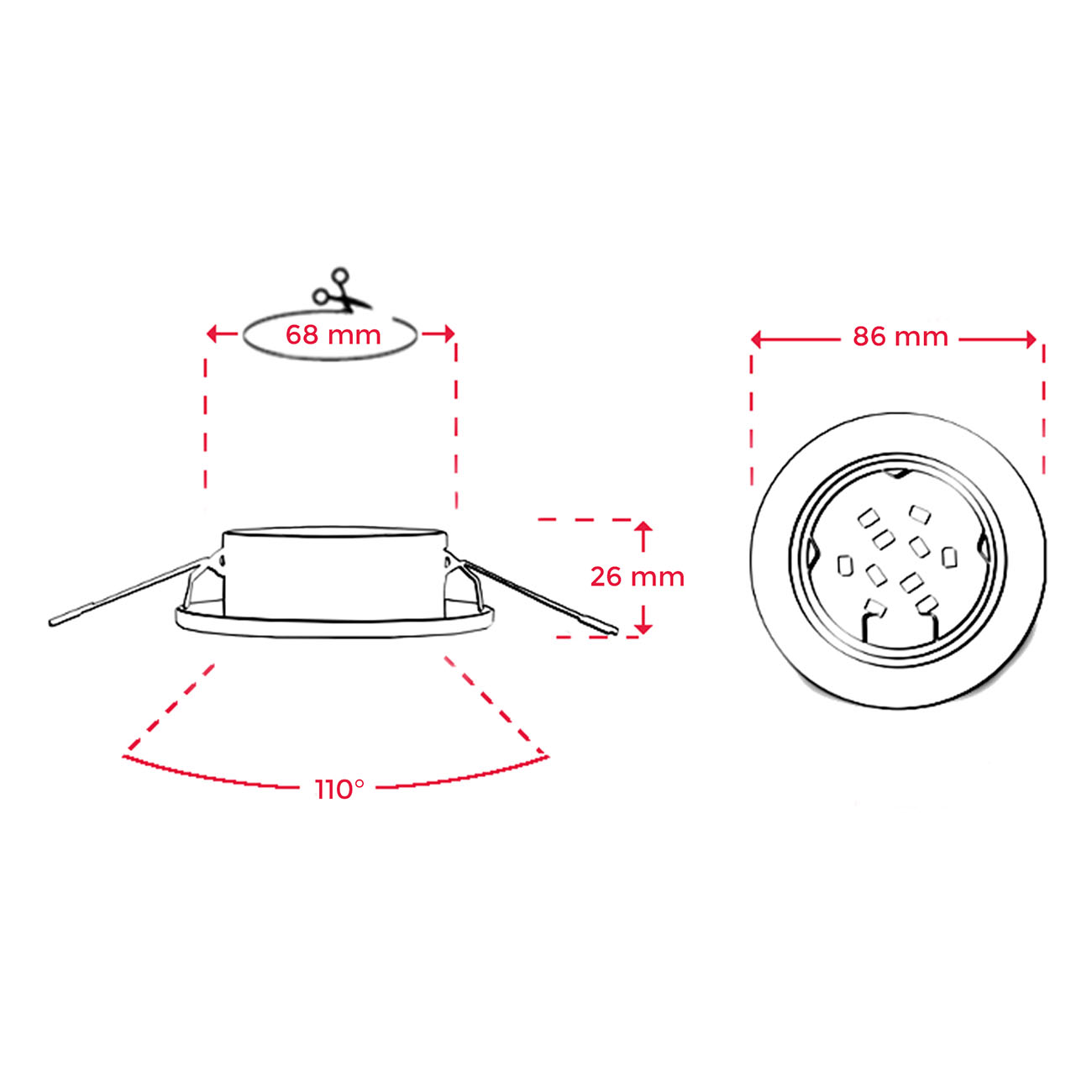 LED Einbaustrahler   Einbauleuchte 5er SET   5W schwenkbar - 7