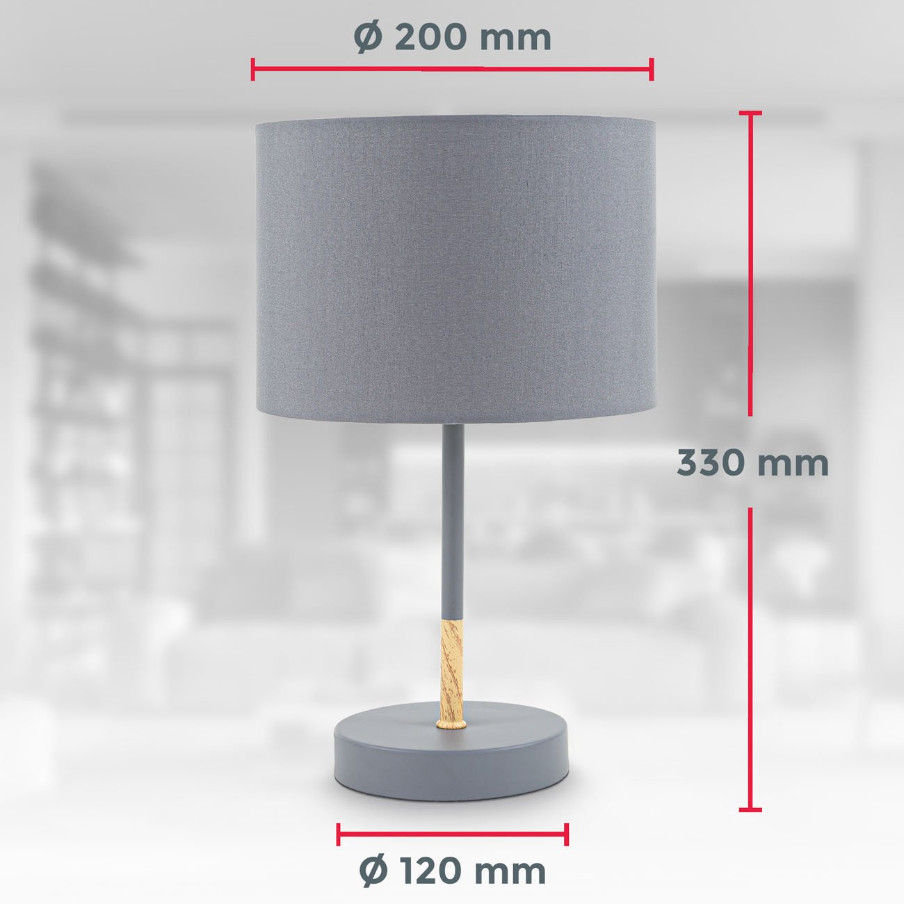Tischleuchte mit Stoffschirm Holz-Metall grau - 6