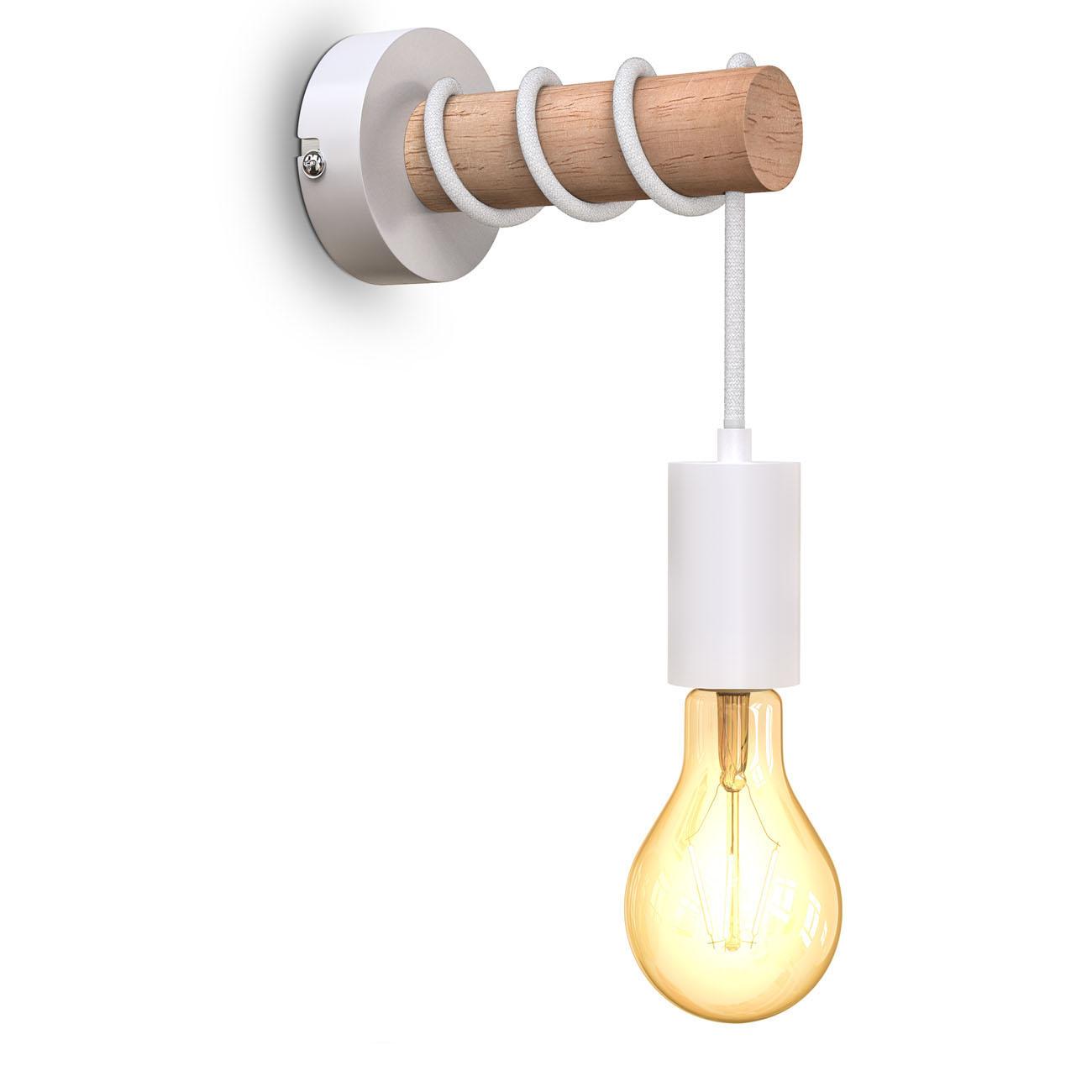Retro Wandleuchte Metall-Holz-Optik weiß E27