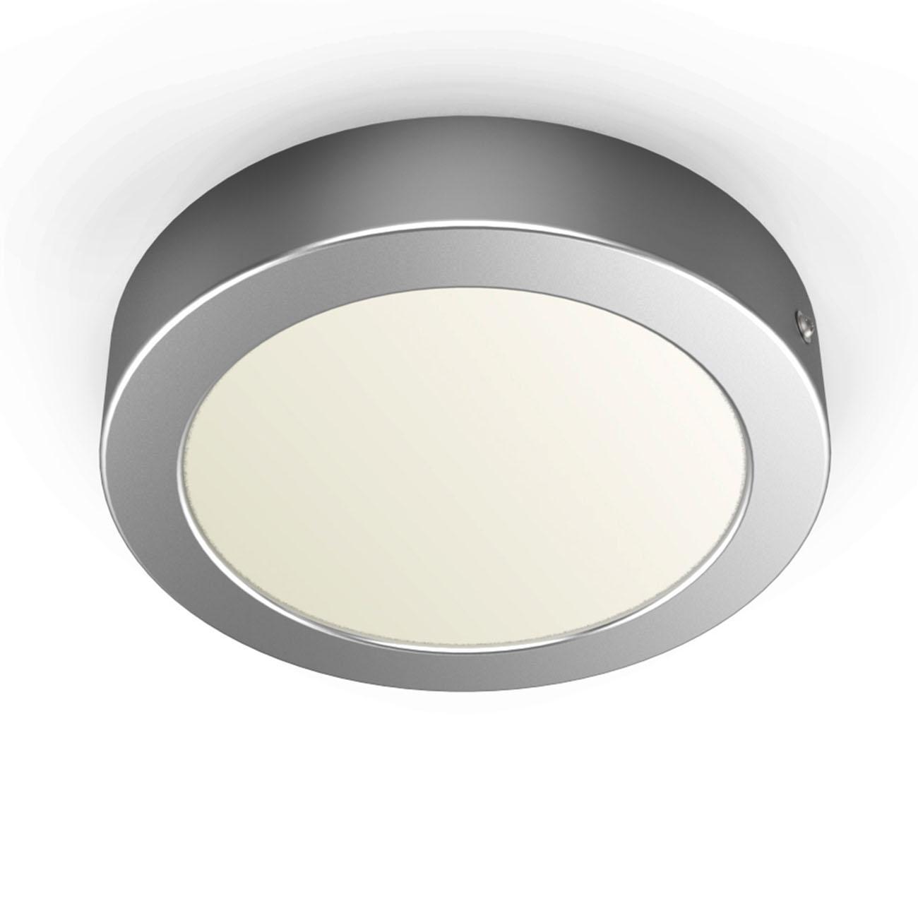LED Aufbauleuchte Aufputzstrahler rund grau - 1