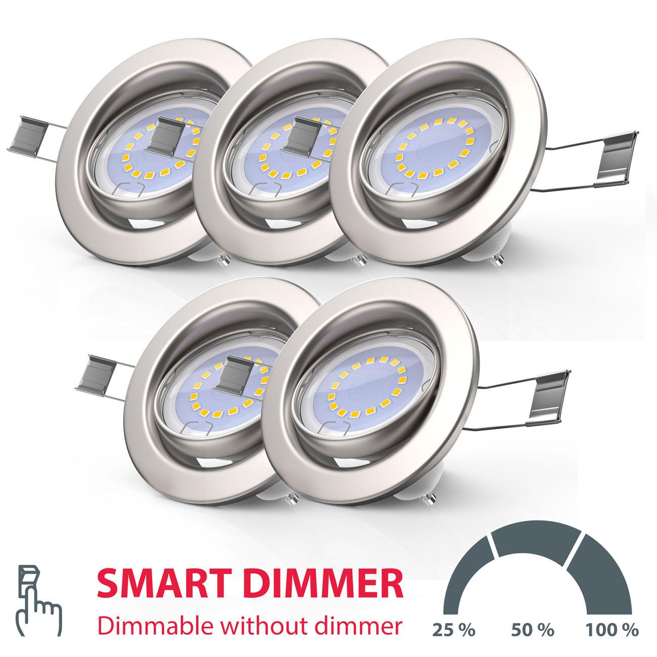 LED Einbaustrahler | Einbauleuchte 5er SET | 5W inkl.GU10 Stufendimmer Schwenkbar - 4