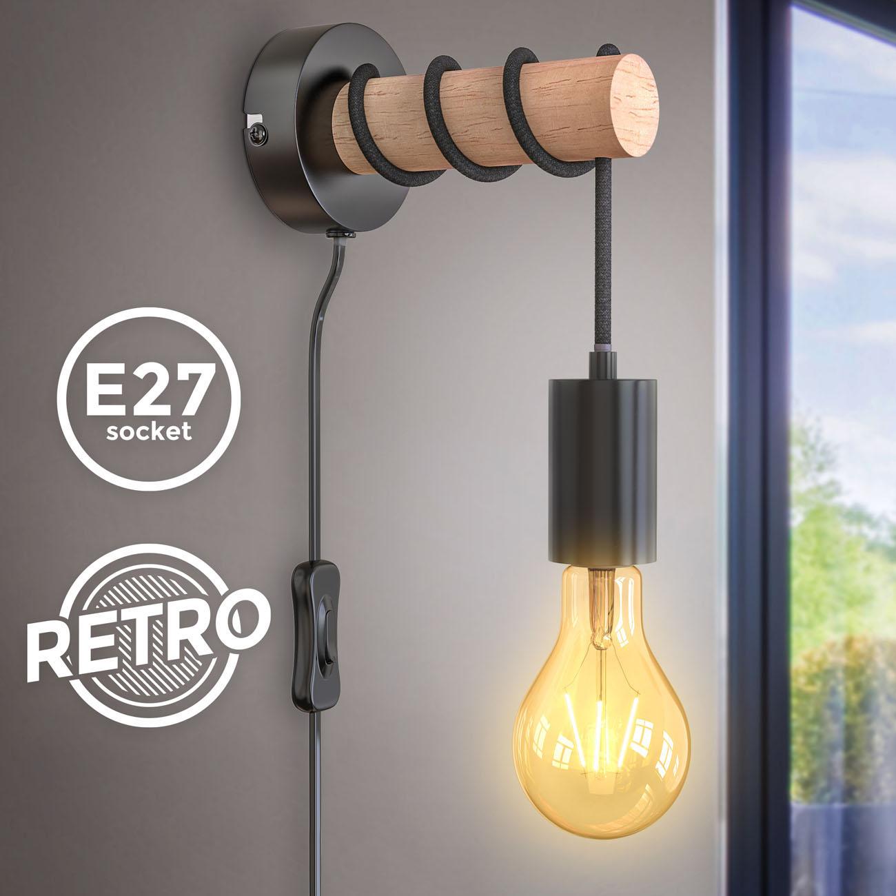 Retro Wandleuchte Metall-Holz-Optik mit Schalter schwarz E27  - 3