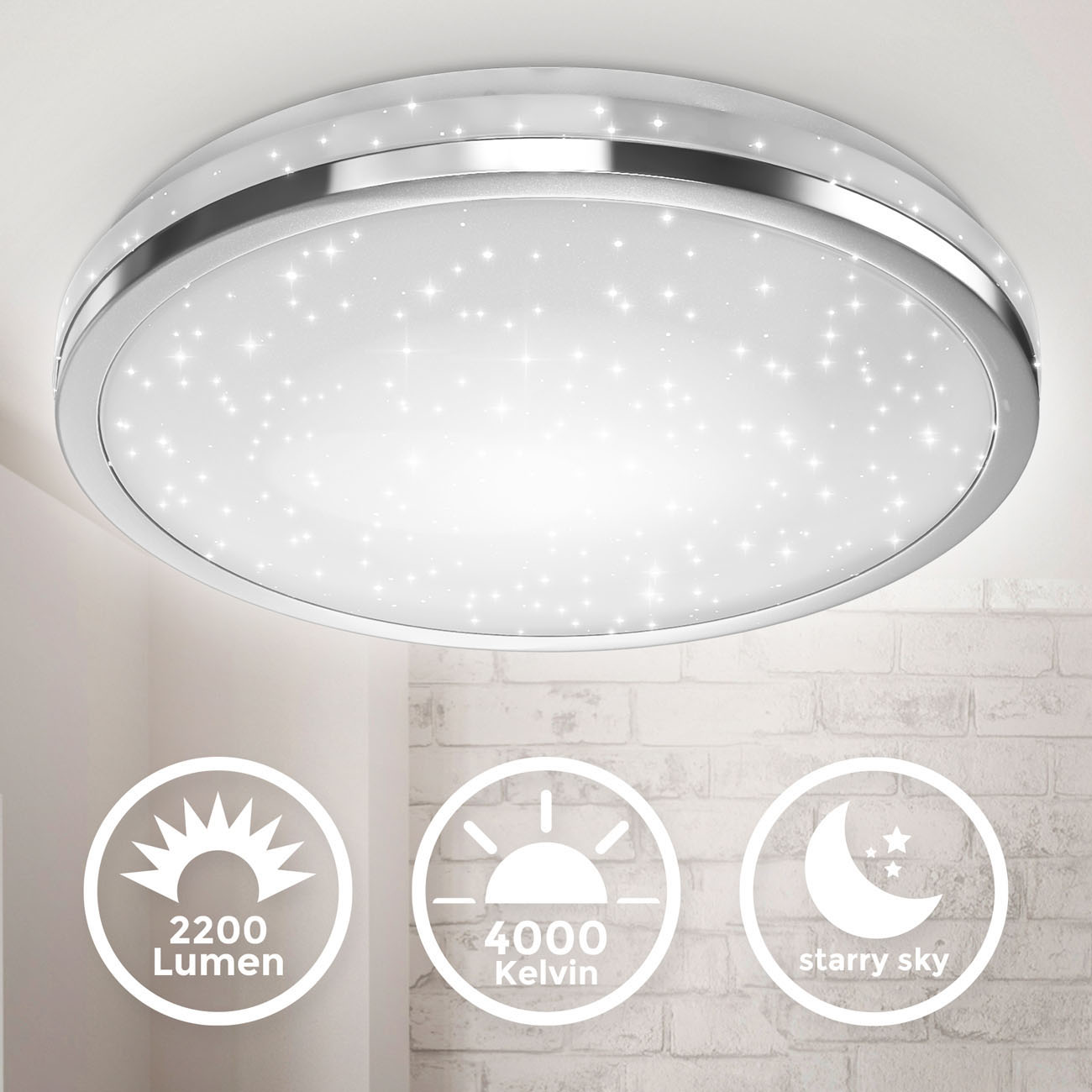 LED Deckenleuchte mit Sternendekor chrom groß - 3
