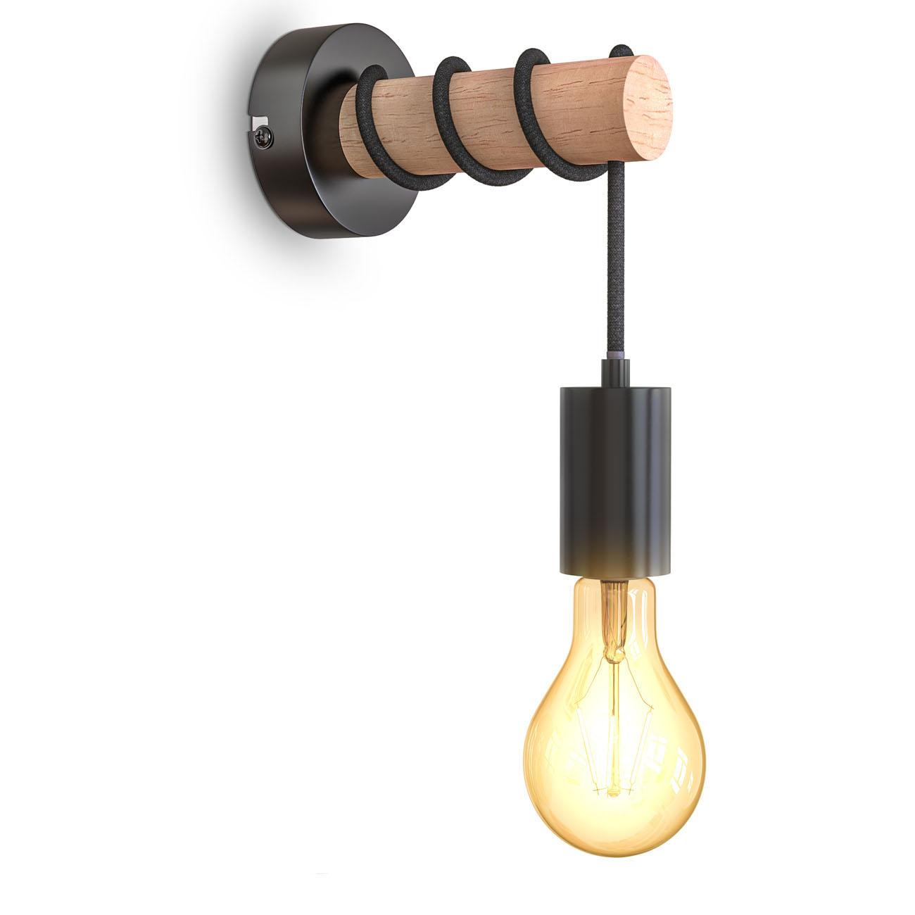 Retro Wandleuchte Metall-Holz-Optik schwarz E27