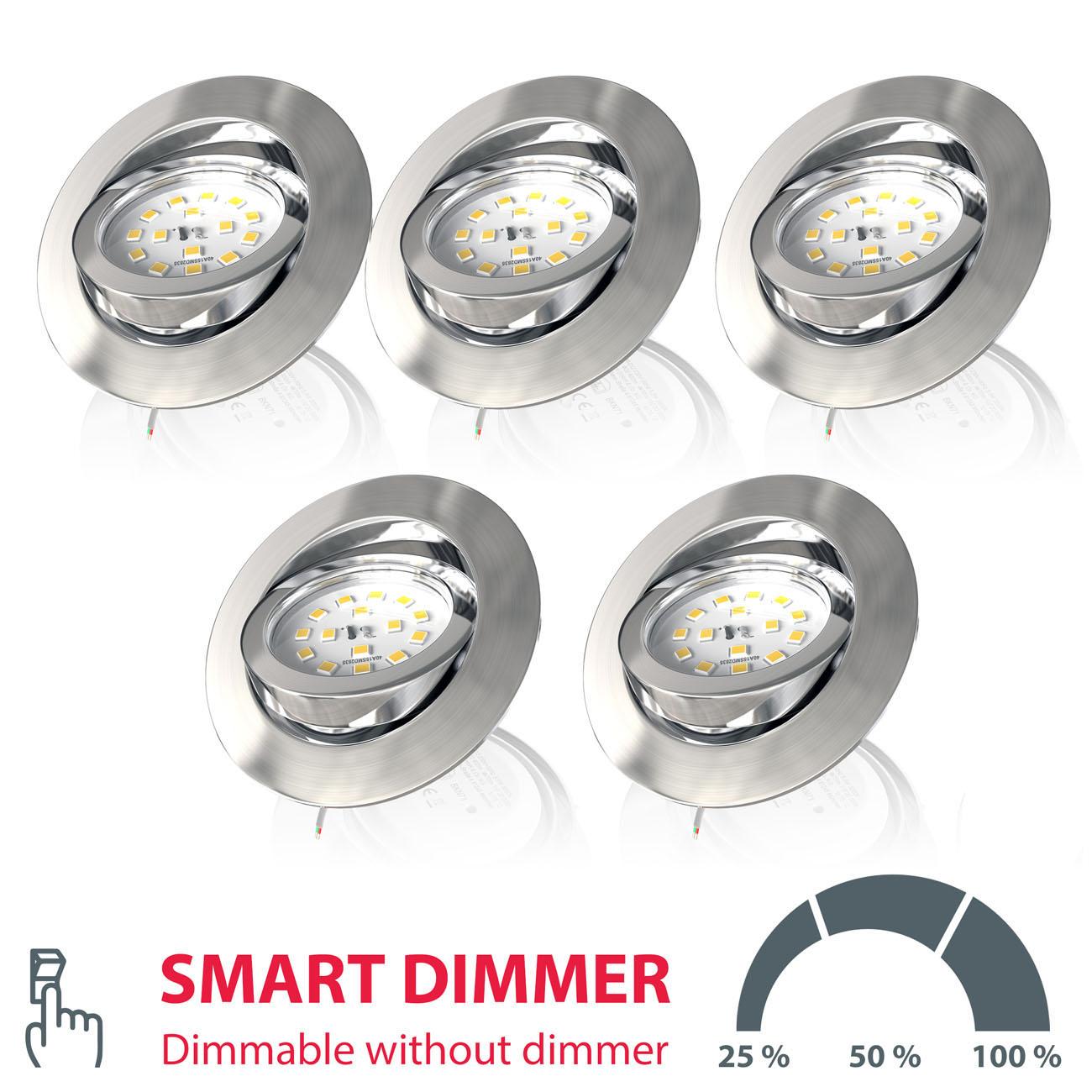 LED Einbaustrahler | Einbauleuchte 5er SET | 5,5W Stufendimmer schwenkbar - 1