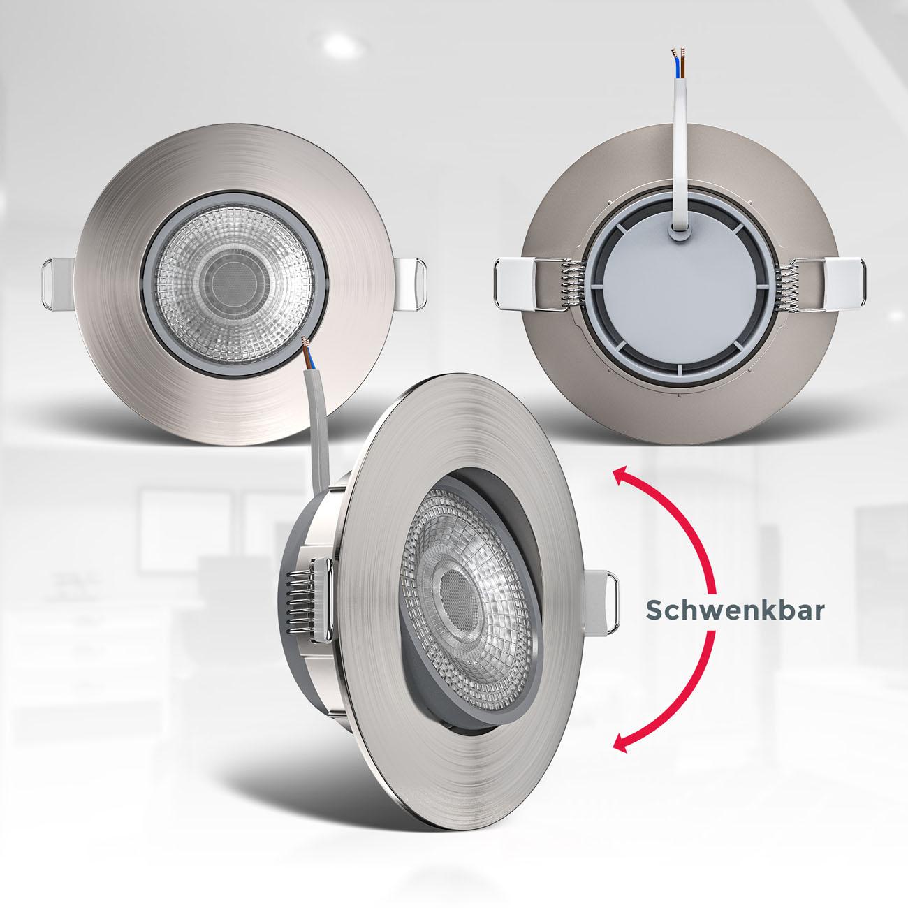 LED Einbaustrahler | Einbauleuchte 3er SET | ultra flach 5W schwenkbar dimmbar - 6