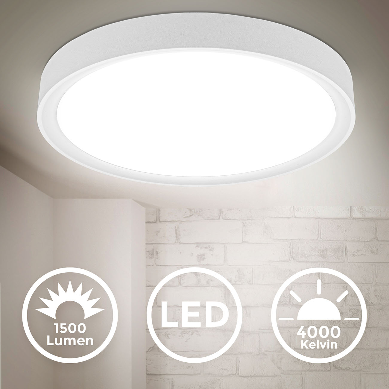 LED Deckenlampe neutralweiß rund  - 3
