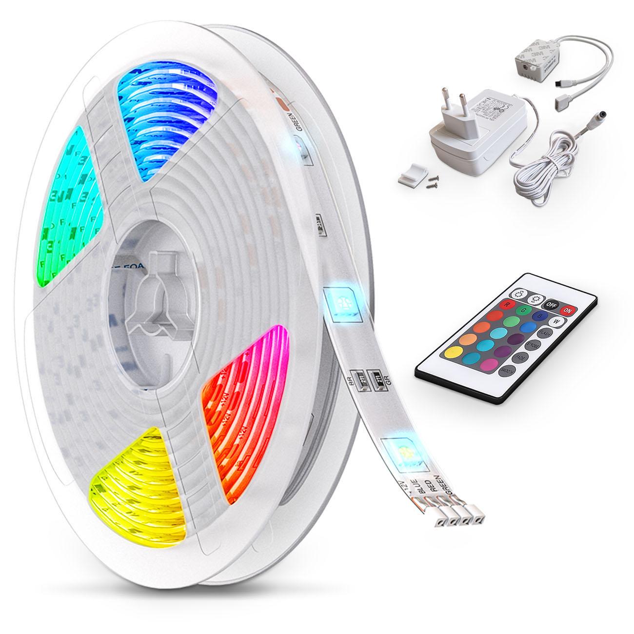 LED RGB Stripe mit Farbwechsel dimmbar 5m