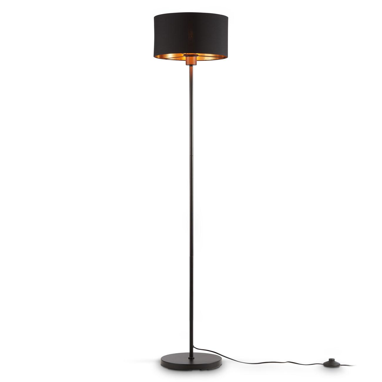 Stehlampe mit schwarz-goldenem Stoffschirm E27