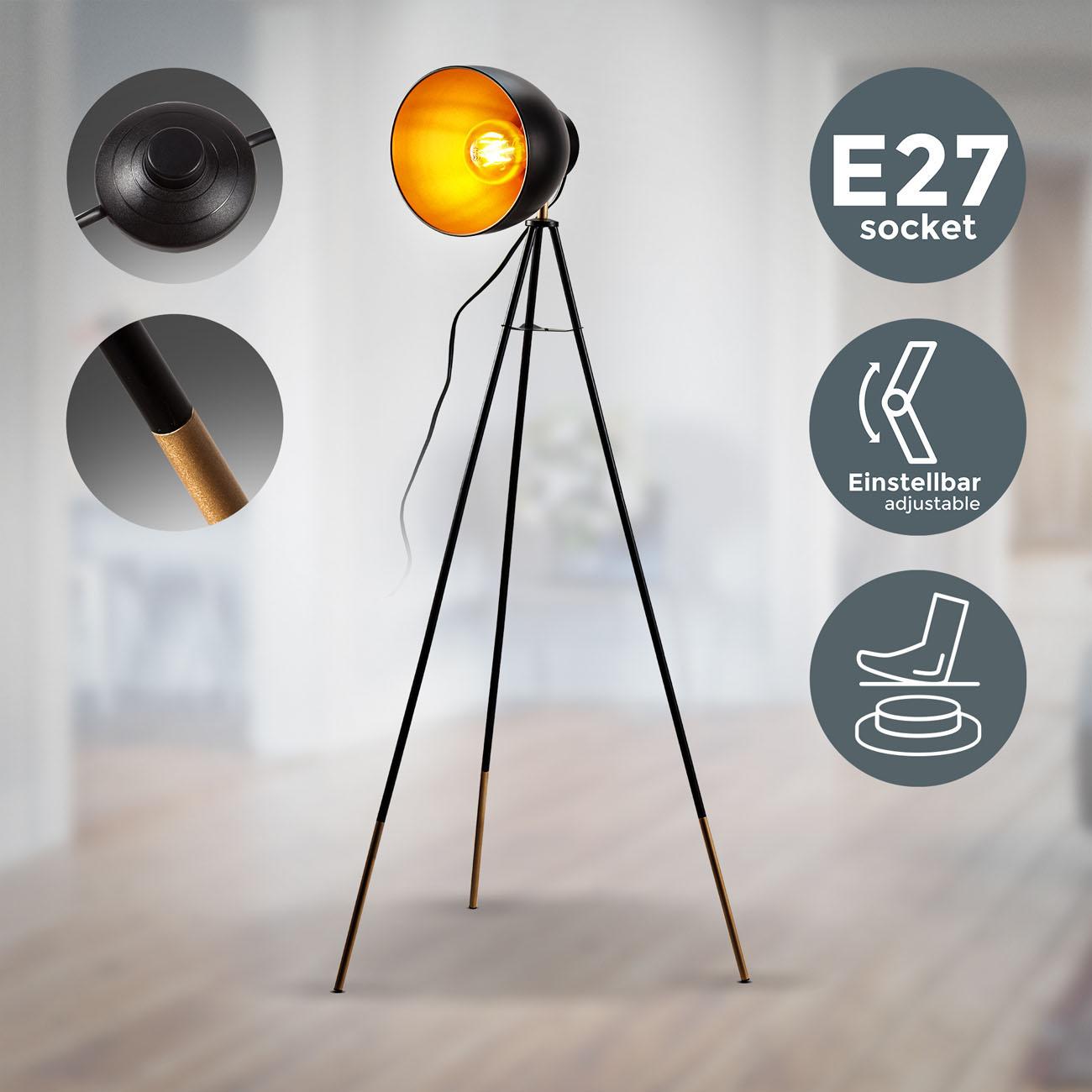 Retro Stehleuchte schwarz-gold E27 - 3