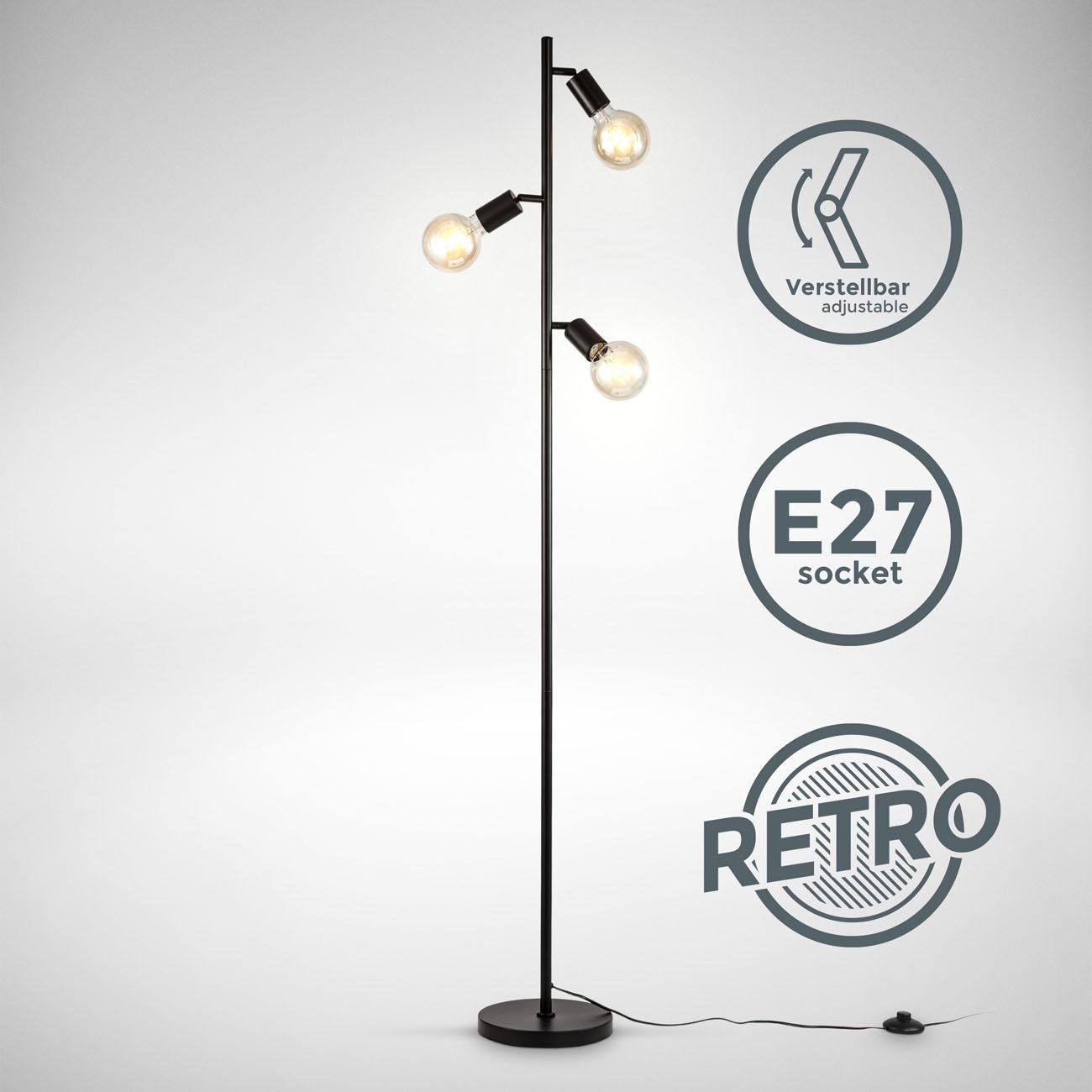 Metall Stehleuchte im Retro Design schwarz 3xE27 - 3