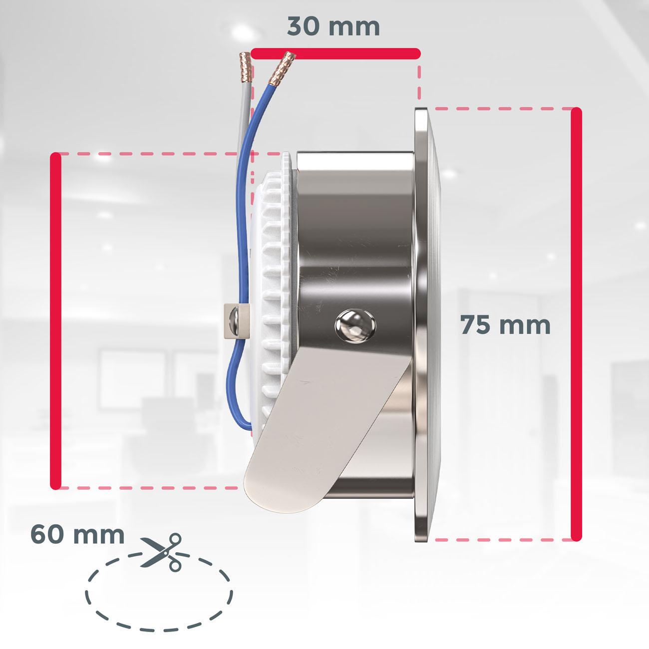 LED Einbaustrahler   Bad Einbauleuchte 5er SET   ultra flach 5W IP44 dimmbar - 7