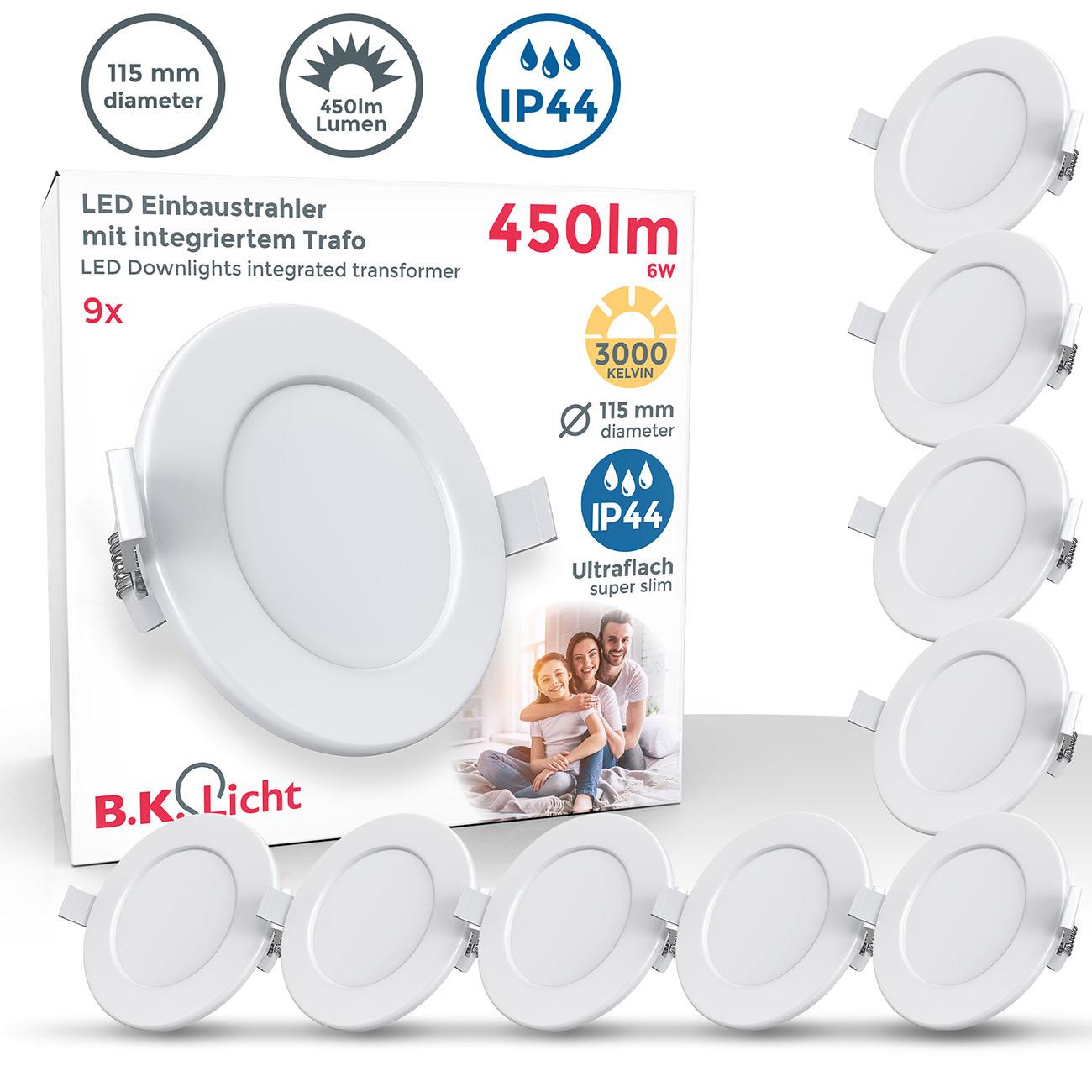 LED Einbaustrahler | Bad Einbauleuchte 9er SET | ultra flach 6W IP44