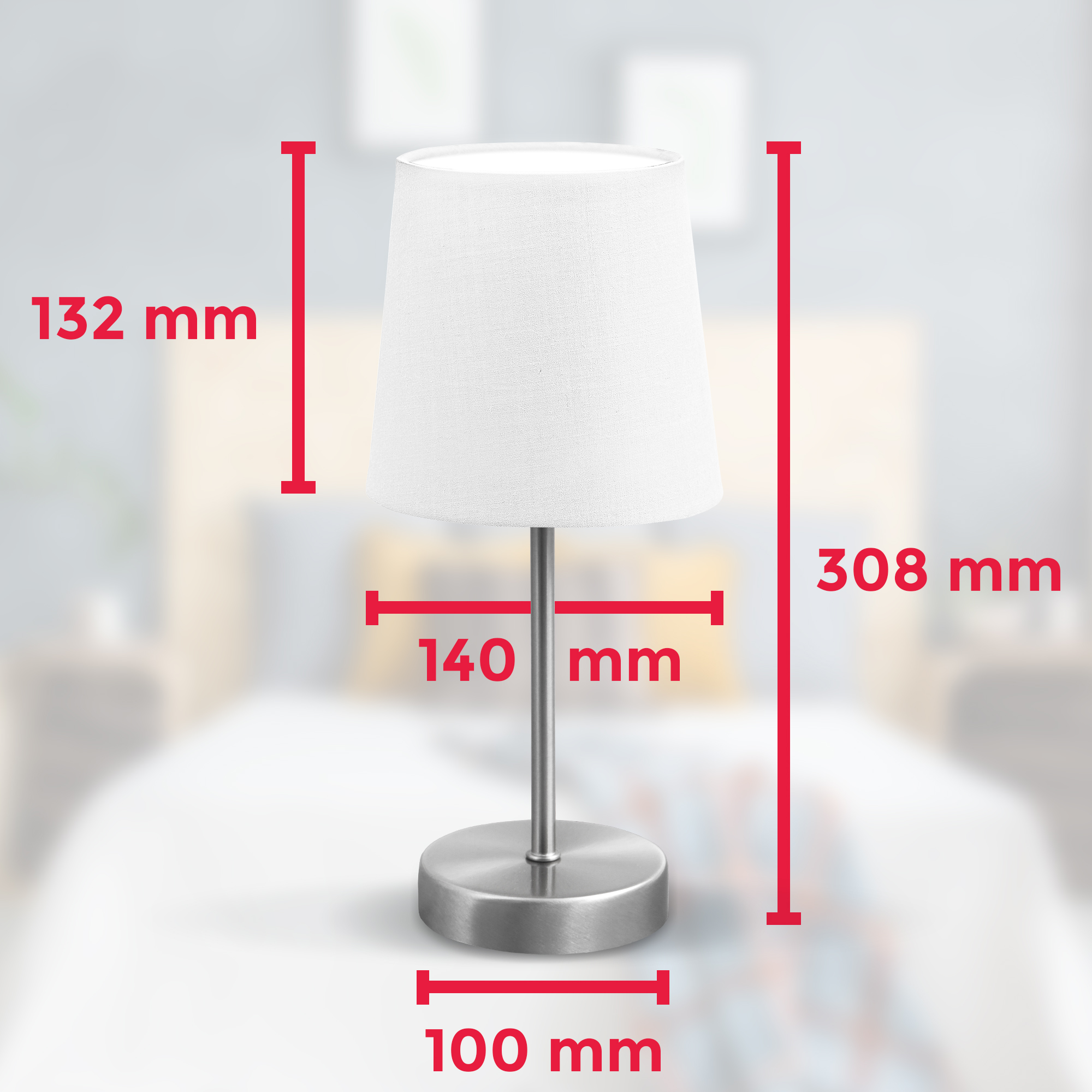 Tischleuchte Stoff matt-nickel weiß E14 - 6