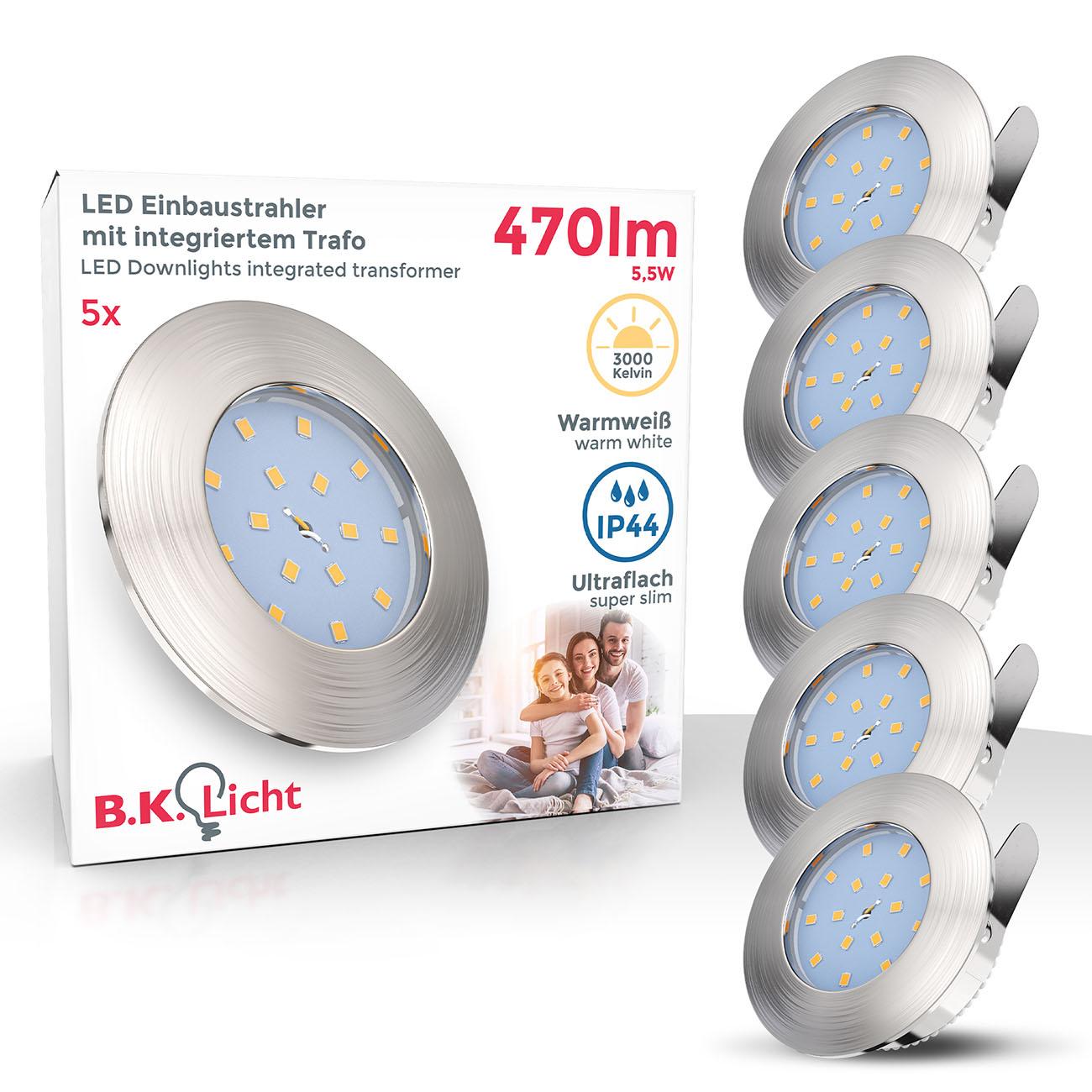 LED Einbaustrahler | Bad Einbauleuchte 5er SET | ultra flach 5W IP44 dimmbar