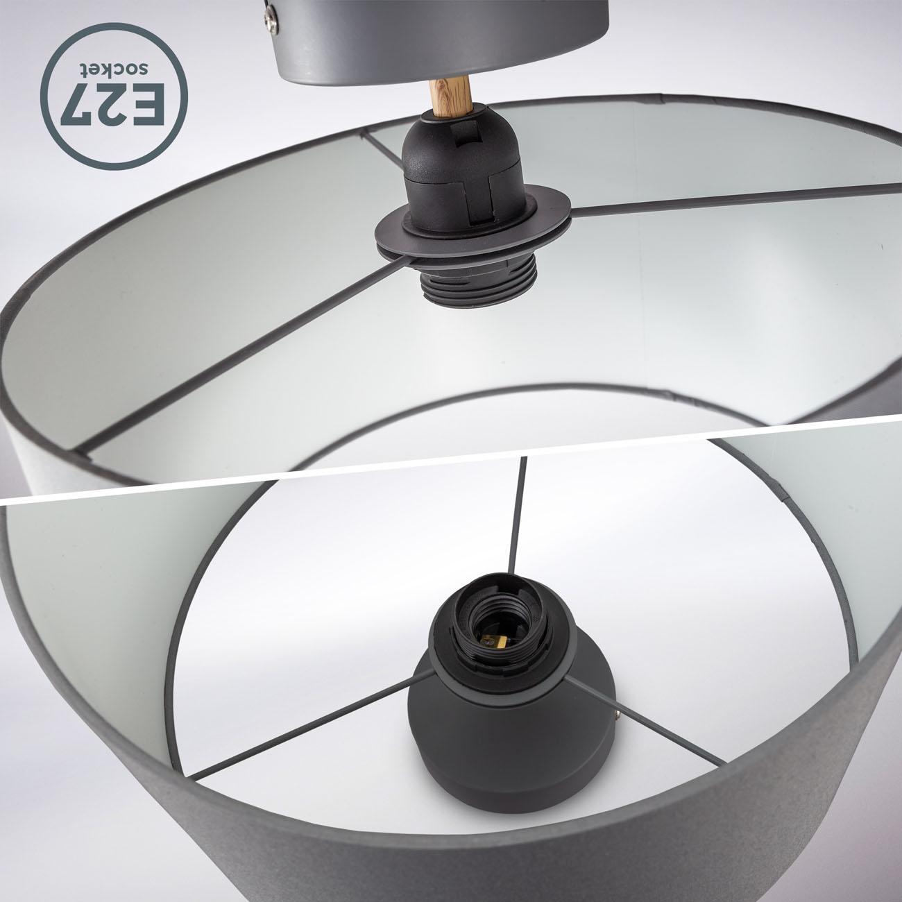 Deckenleuchte mit Stoffschirm grau E27 - 4