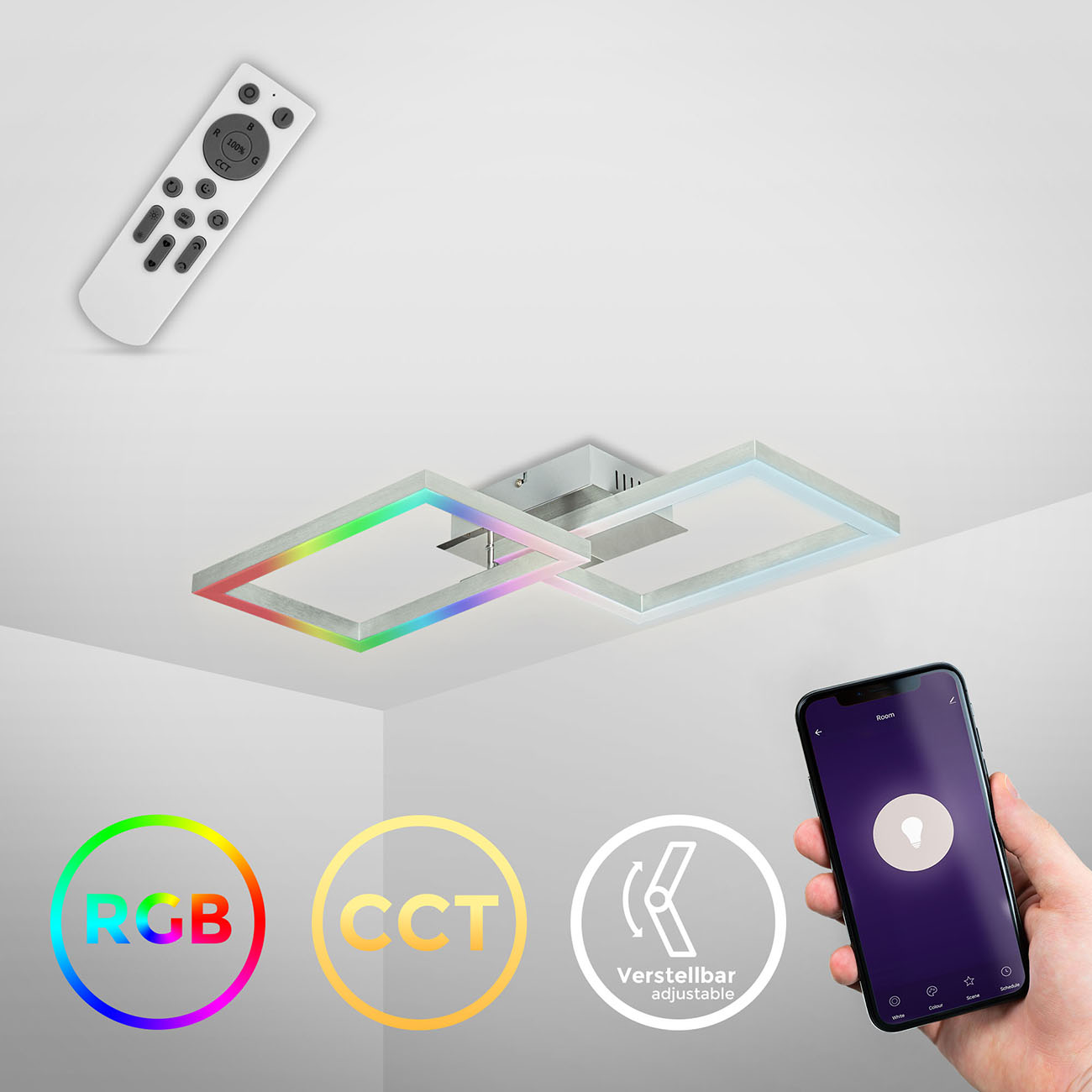 CCT RGB LED Frame Deckenleuchte schwenkbar 1-flammig mit Timer - 2