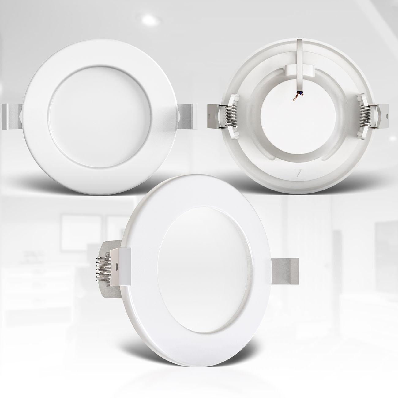 LED Einbaustrahler | Bad Einbauleuchte 6er SET | ultra flach 6W IP44 dimmbar - 6