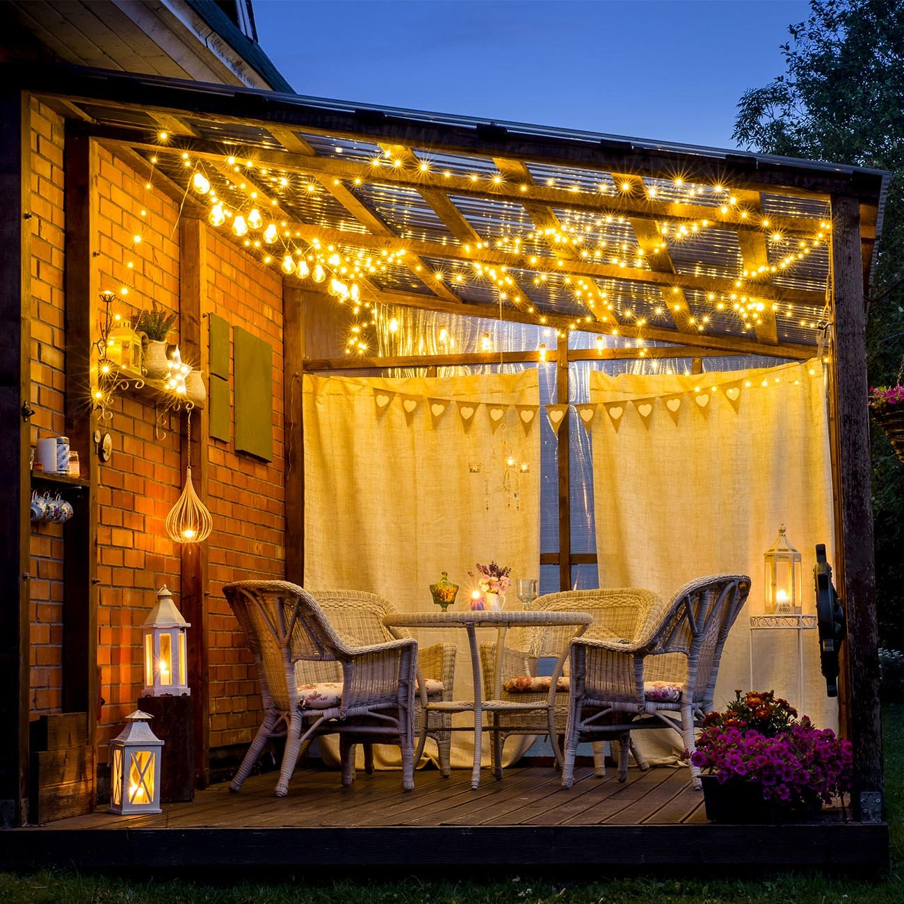 Solar LED Lichterkette für Außen 24m  IP44 | 2er Set