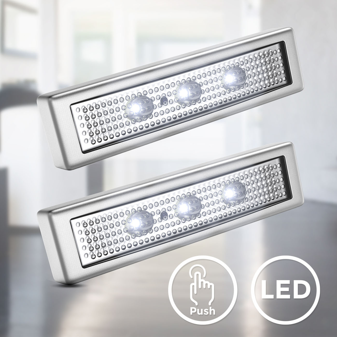 LED Push-Light mit Batteriebetrieb | 2er Set - 3