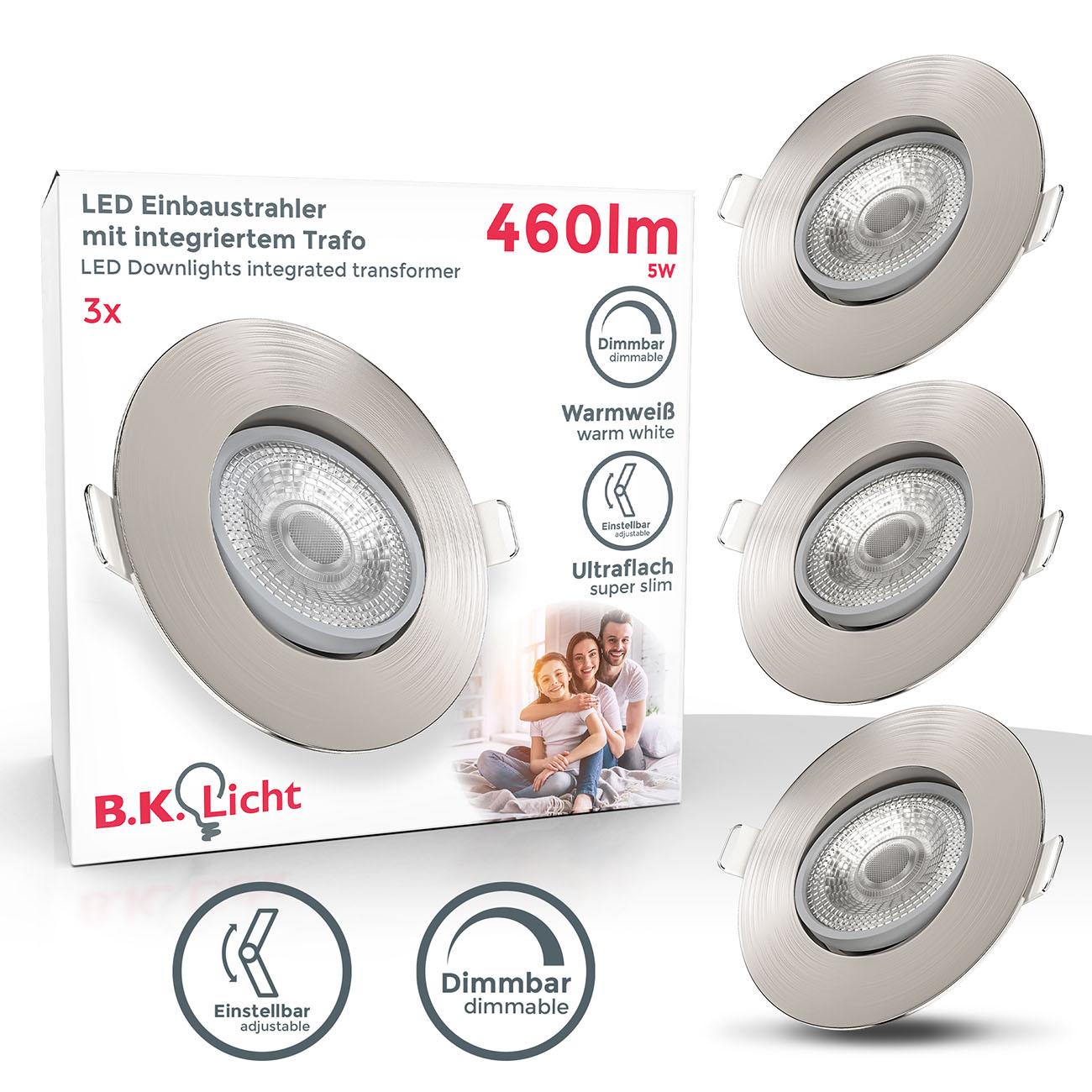 LED Einbaustrahler | Einbauleuchte 3er SET | ultra flach 5W schwenkbar dimmbar