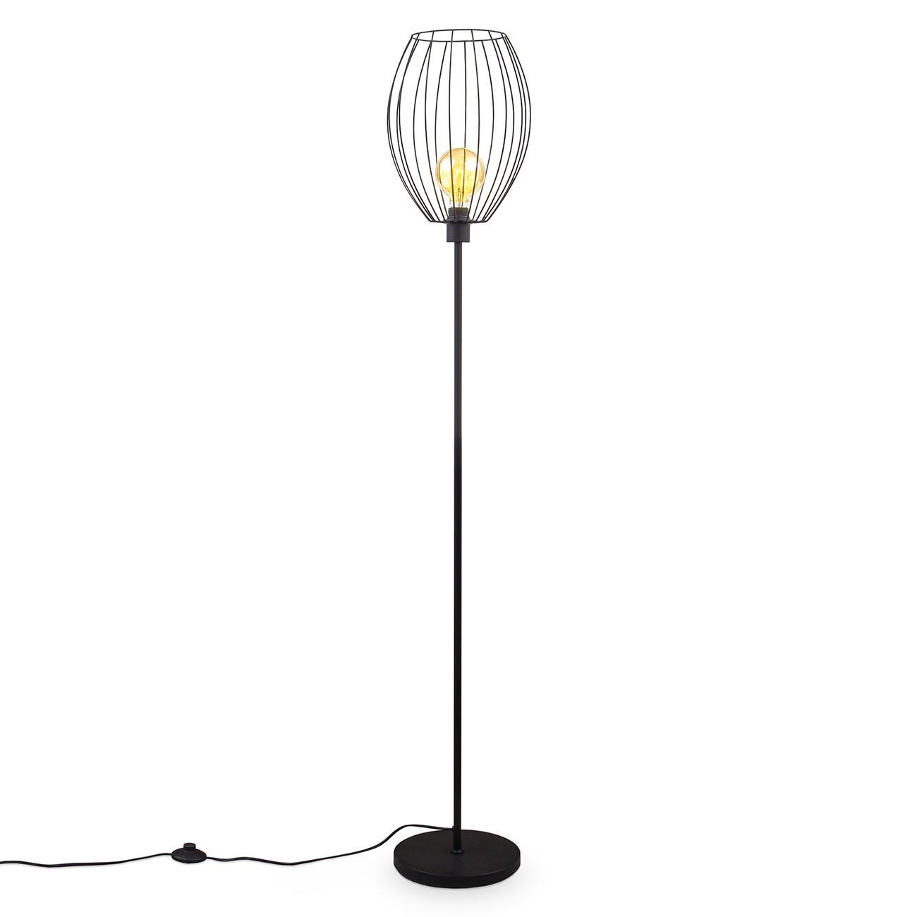 Retro Stehlampe schwarz E27