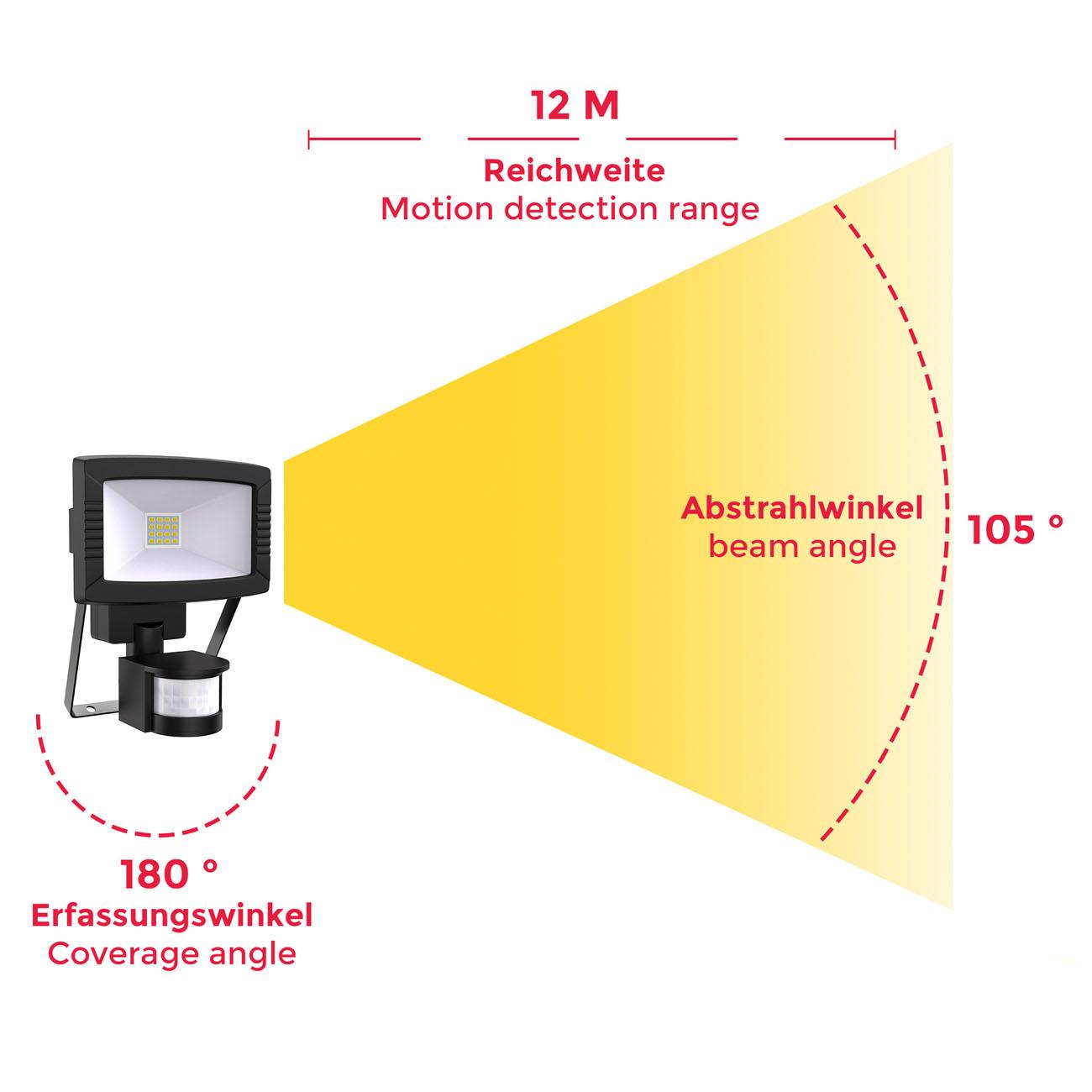 LED Außenstrahler mit Bewegungsmelder IP44 schwarz - 5