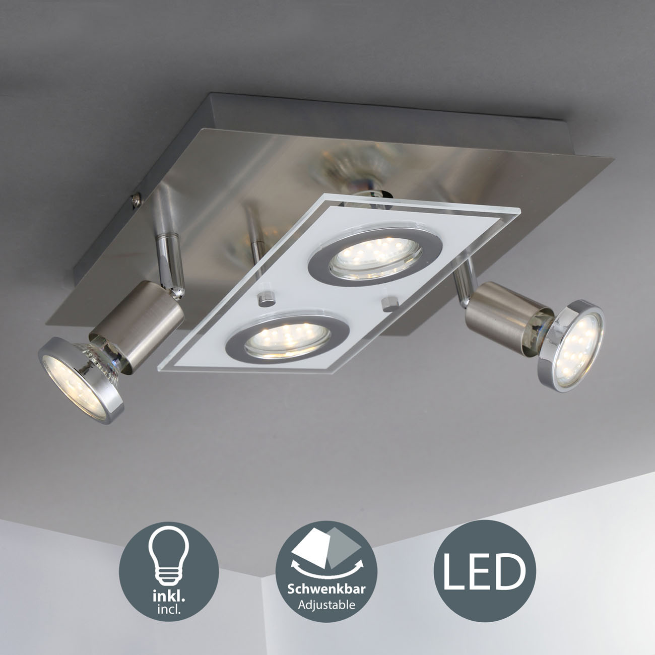 LED Kombi Deckenleuchte Spotleuchte 4-flammig  - 3