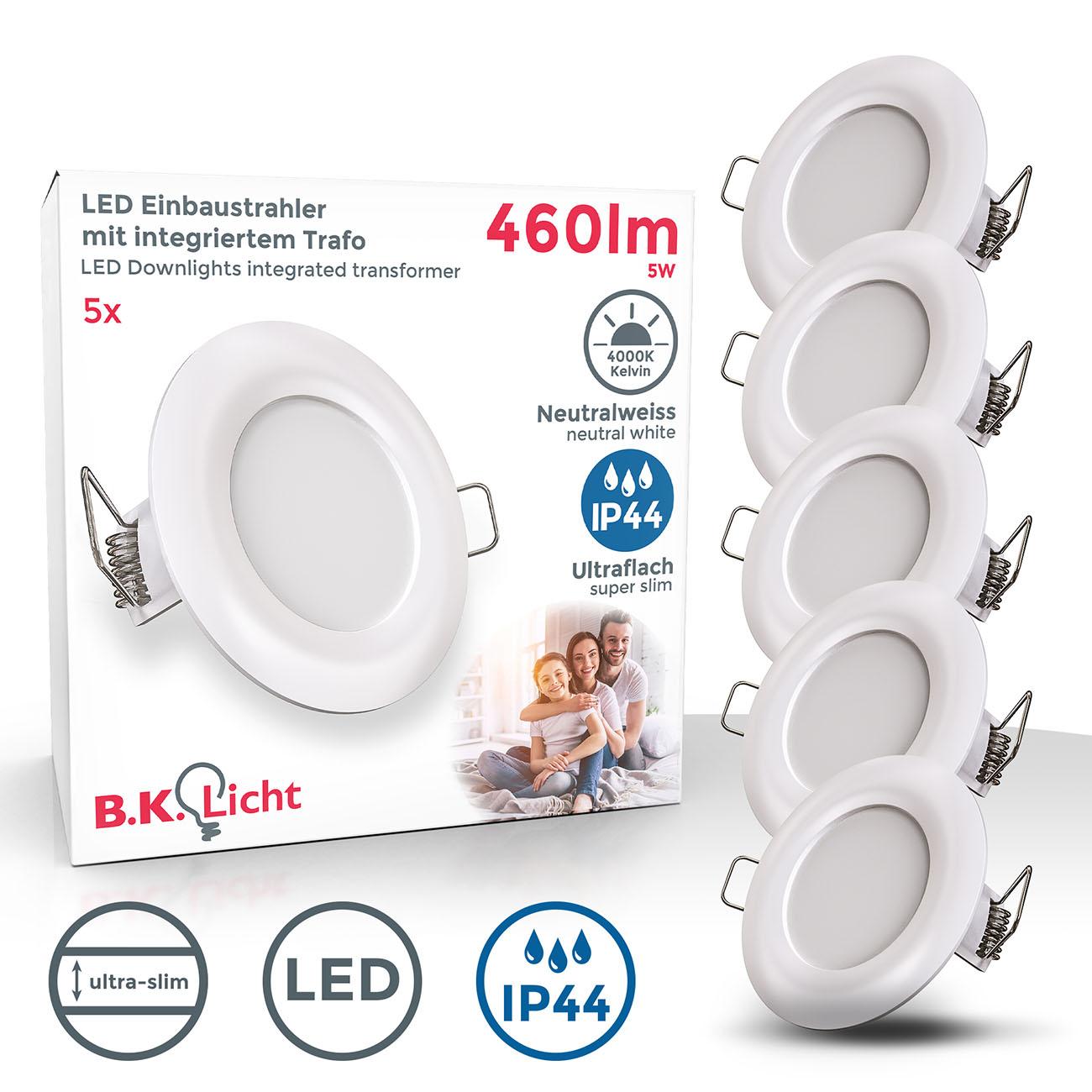 LED Einbaustrahler | Bad Einbauleuchte 5er SET | ultra flach 5W IP44 weiß