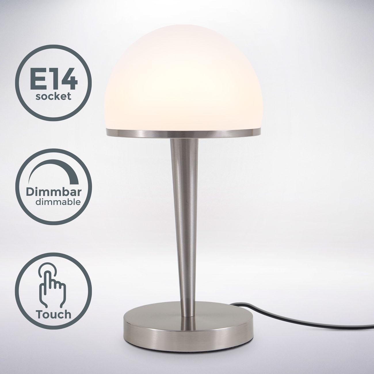 Tischleuchte mit Glasschirm dimmbar E14 matt-nickel - 3