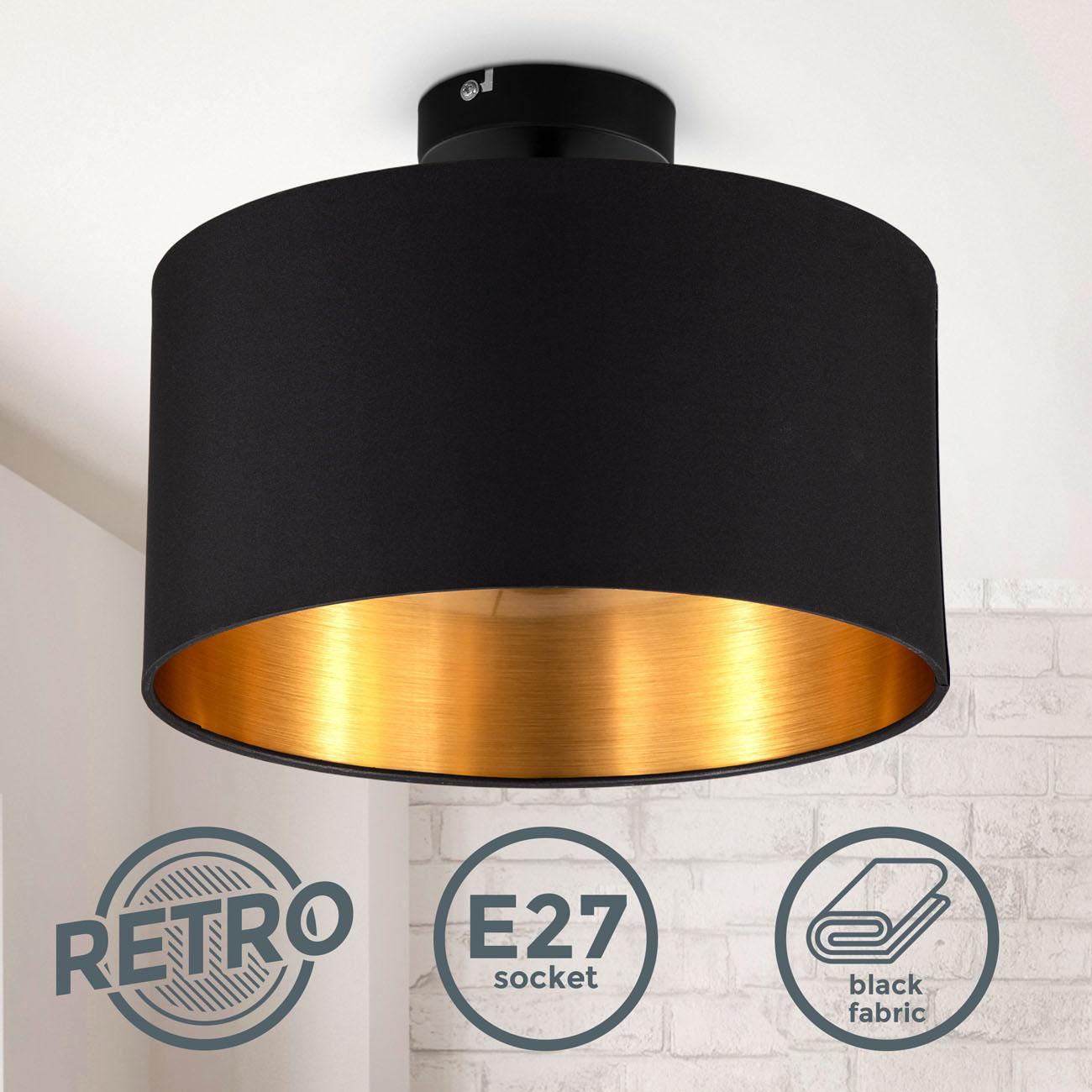 Deckenleuchte mit Stoffschirm schwarz-gold E27