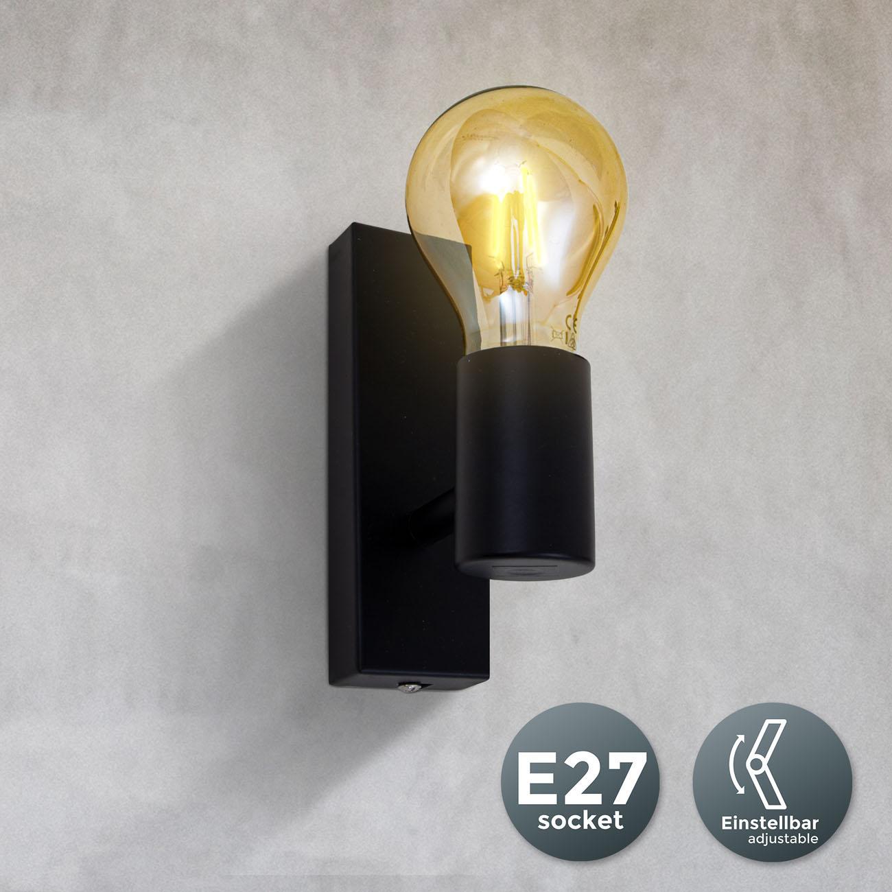 Vintage Wandleuchte schwarz E27 - 3