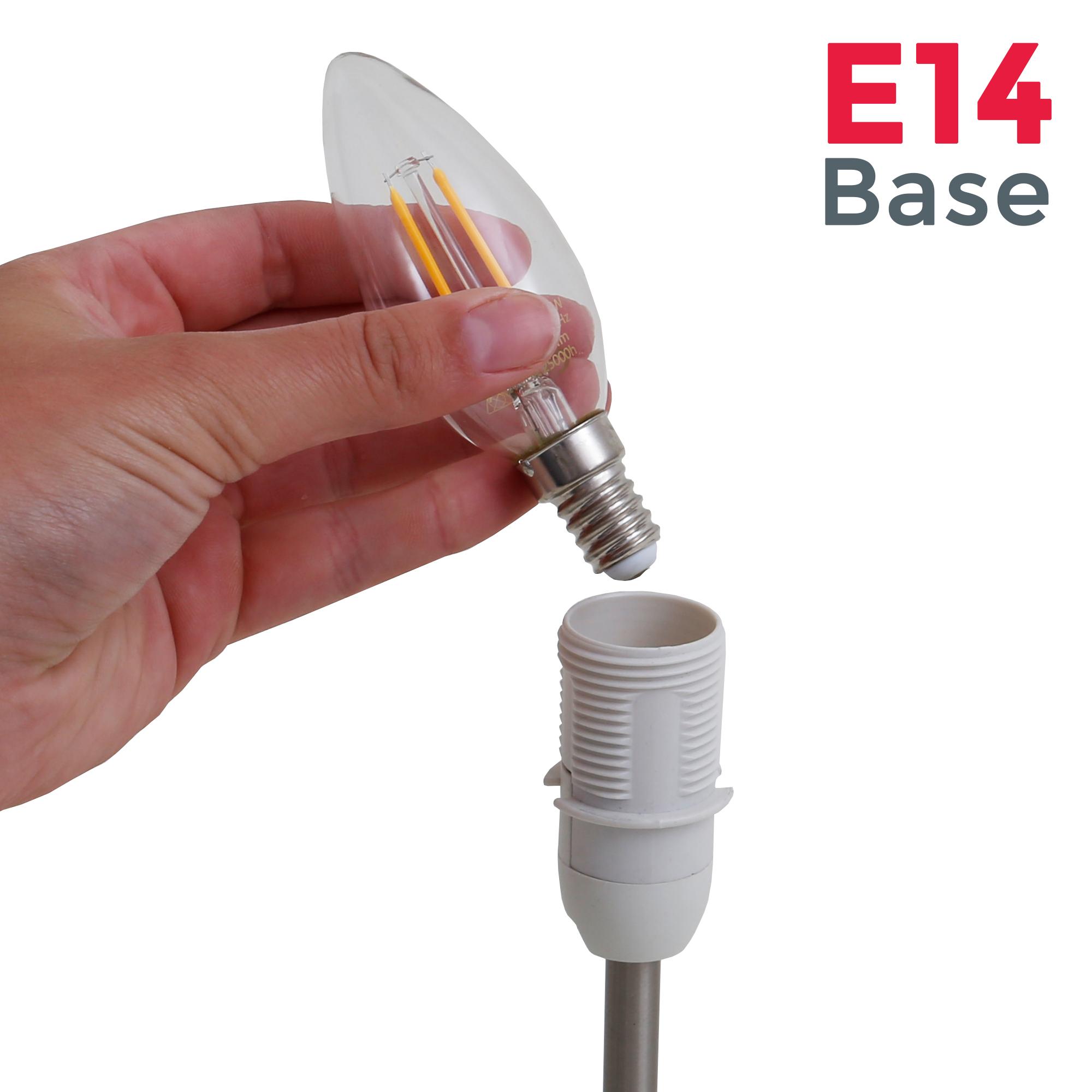 Tischleuchte Stoff matt-nickel weiß E14 - 4