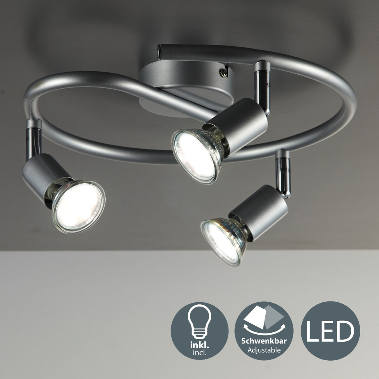 LED Deckenstrahler Deckenspot 3-flammig rund - 3