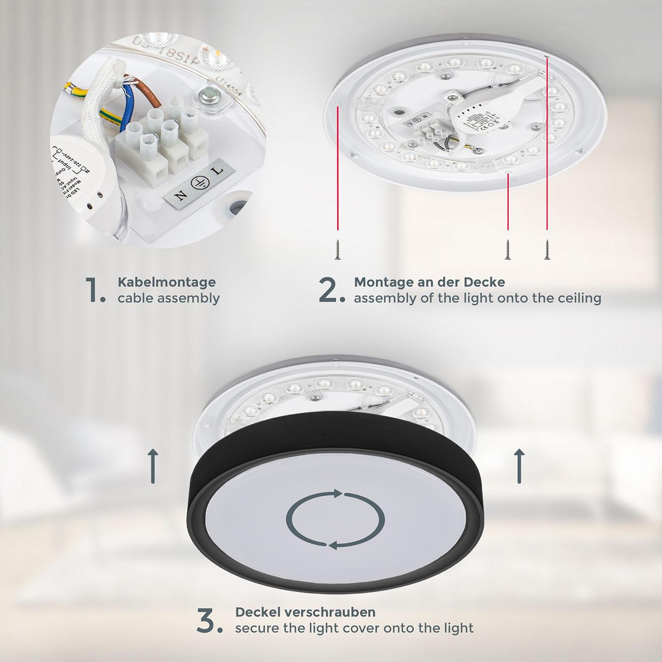 LED Deckenlampe neutralweiß rund schwarz - 5