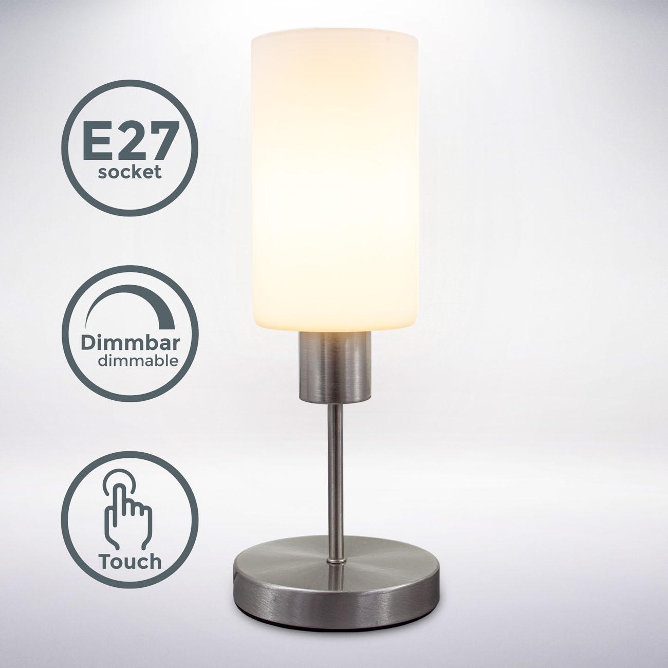 Tischleuchte mit Touchdimmer matt-nickel E27 - 3