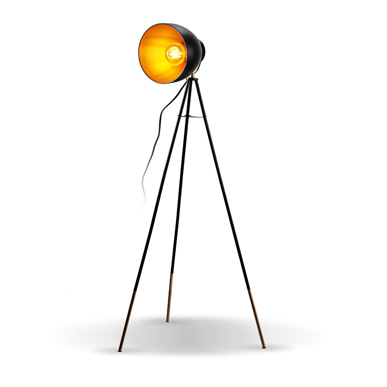 Retro Stehleuchte schwarz-gold E27 - 1