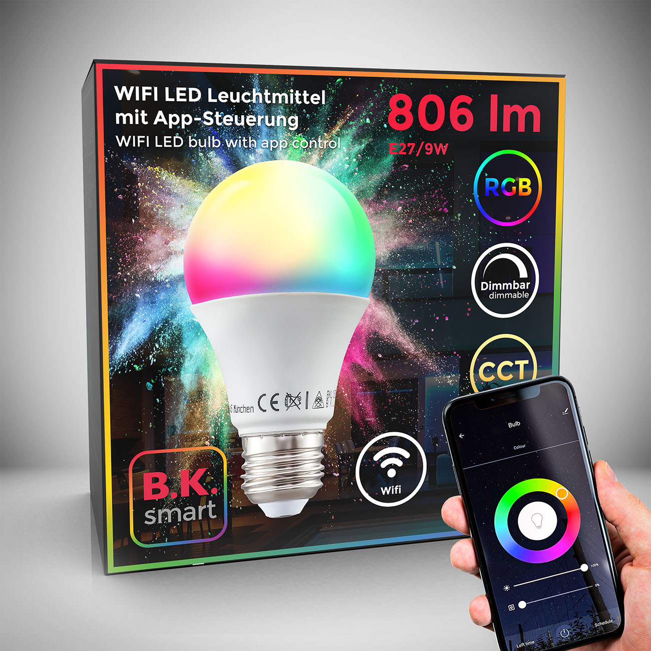 WiFi LED Leuchtmittel RGB + CCT E27 9W - 1