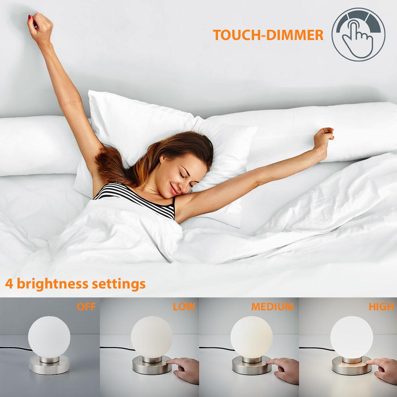 Nachttischlampe mit Touchdimmer Kugel - 7