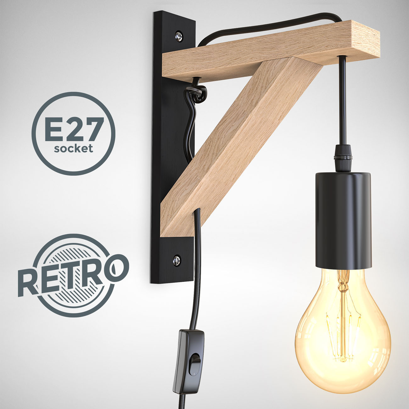 Retro Wandleuchte Schwarz-Naturholz Optik E27 - 3