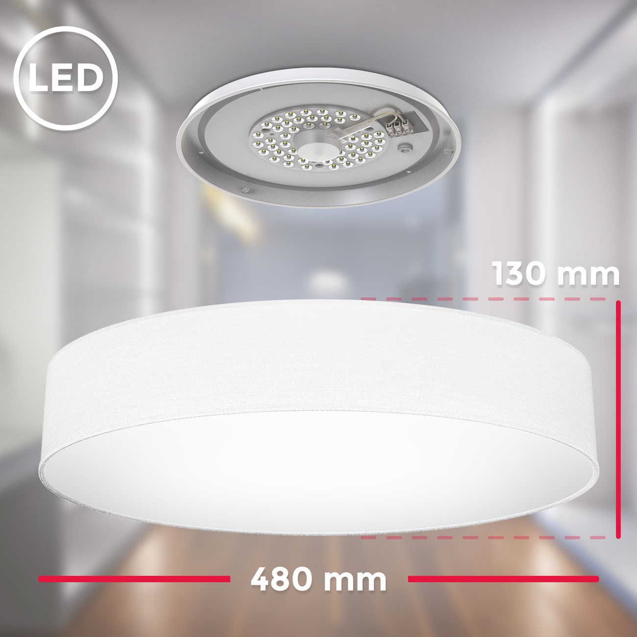 LED  Deckenleuchte mit Stoffschirm weiß - 5